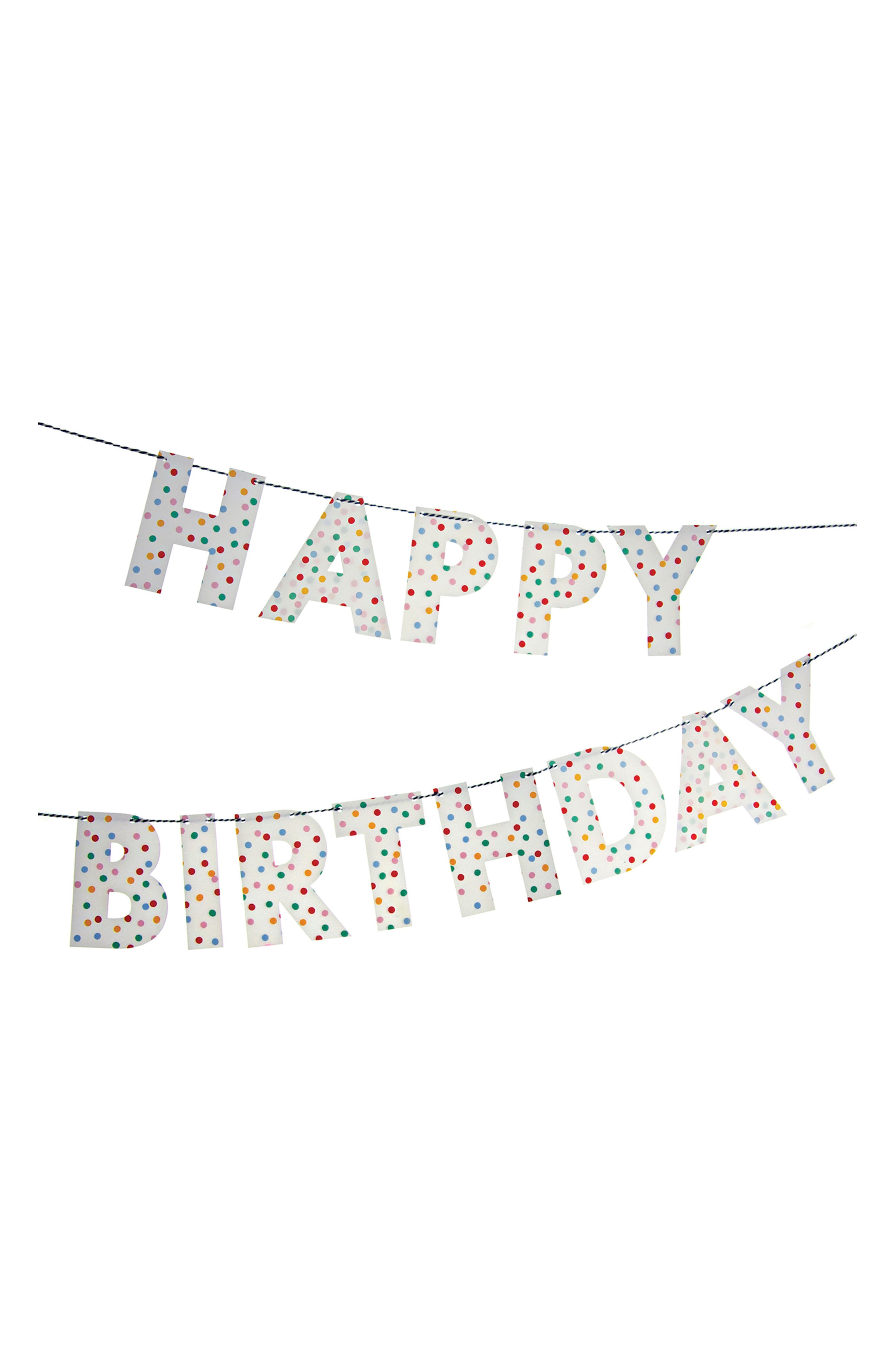 Toot Sweet - Spotty Happy Birthday Garland,                             Main thumbnail 1, color,                             Blue Multi