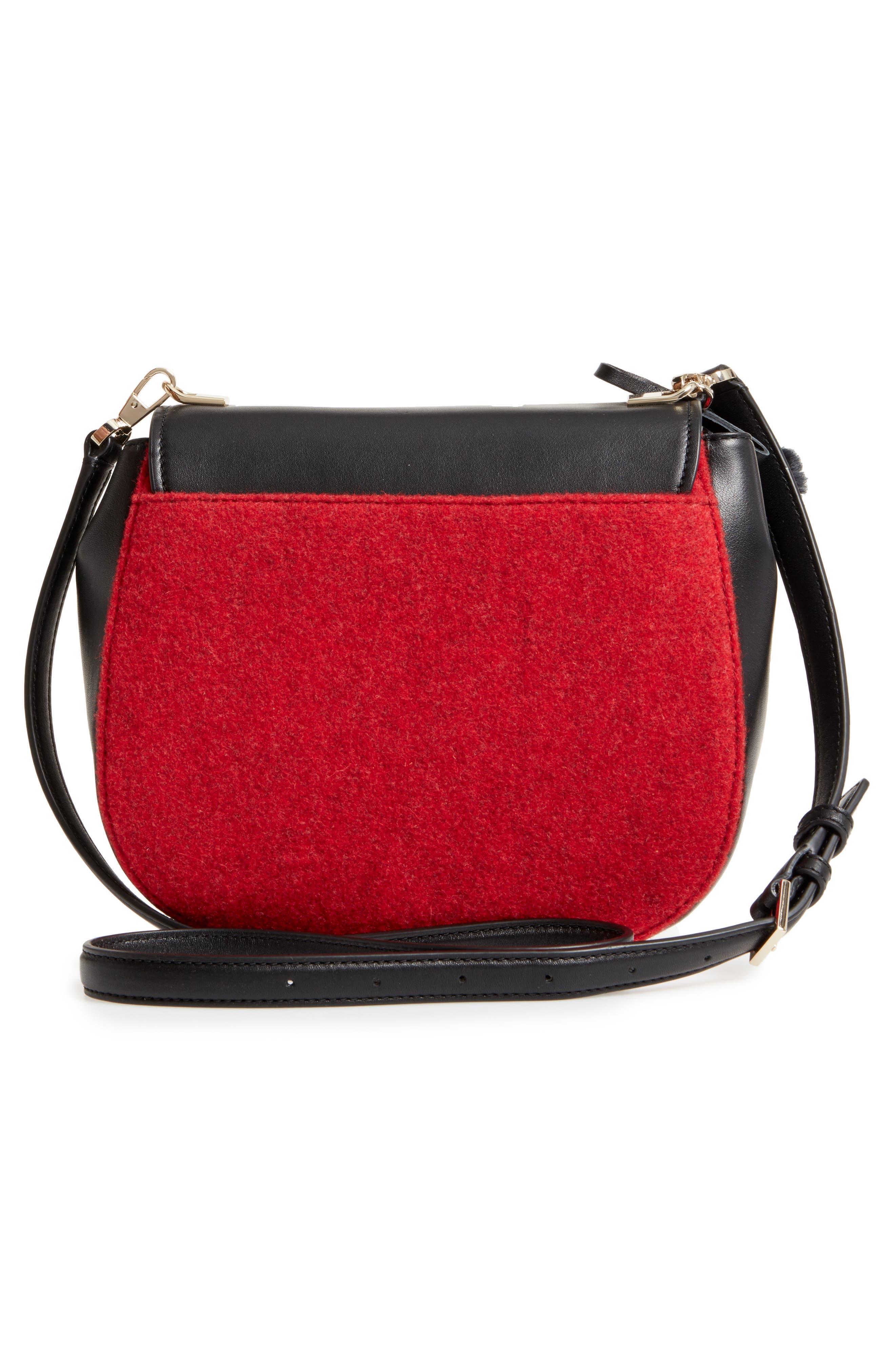 byrne street - byrdie embellished leather & wool saddle bag,                             Alternate thumbnail 2, color,                             Red Carpet