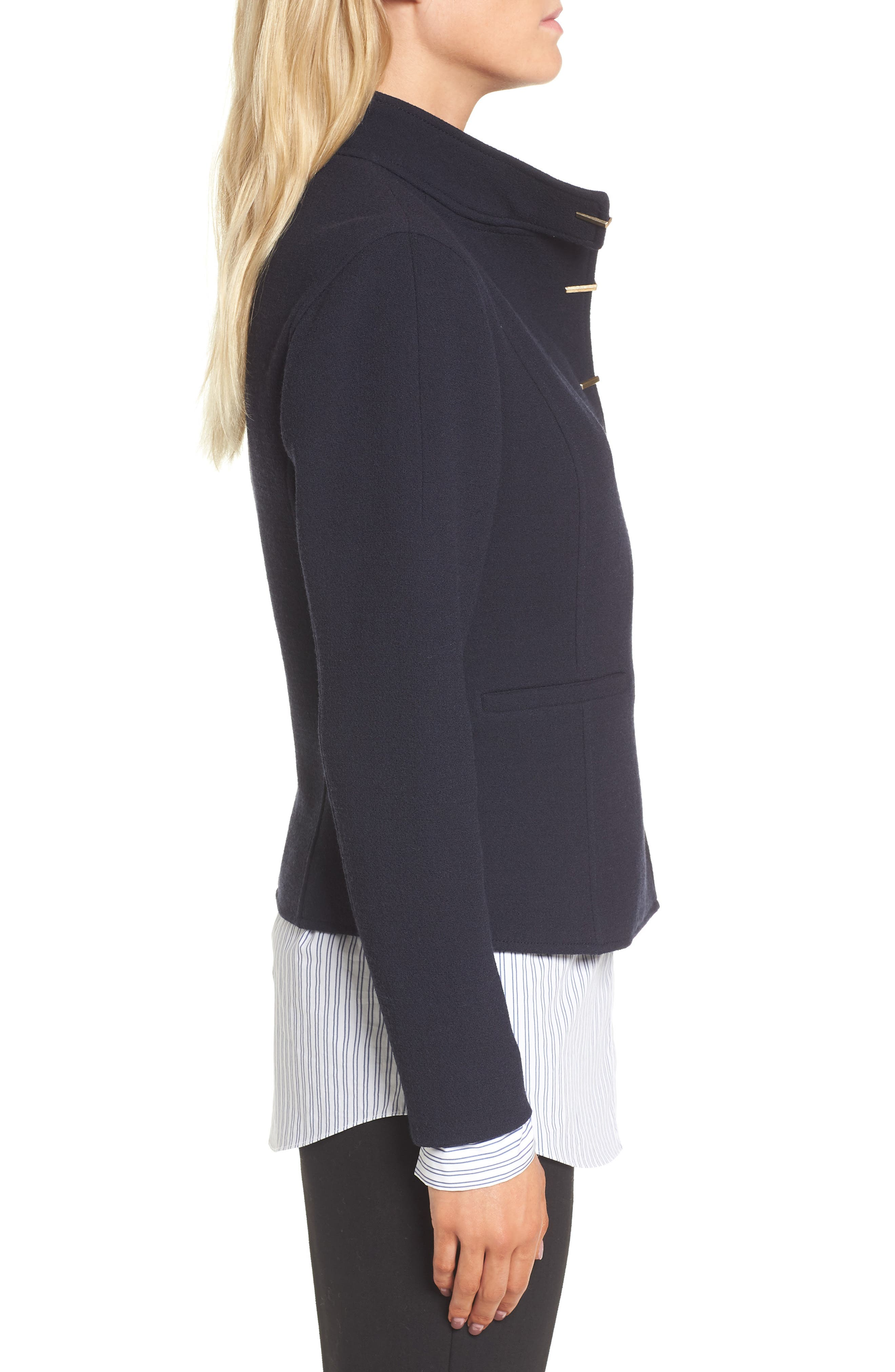 Fitted Wool Jacket,                             Alternate thumbnail 4, color,                             Navy Night