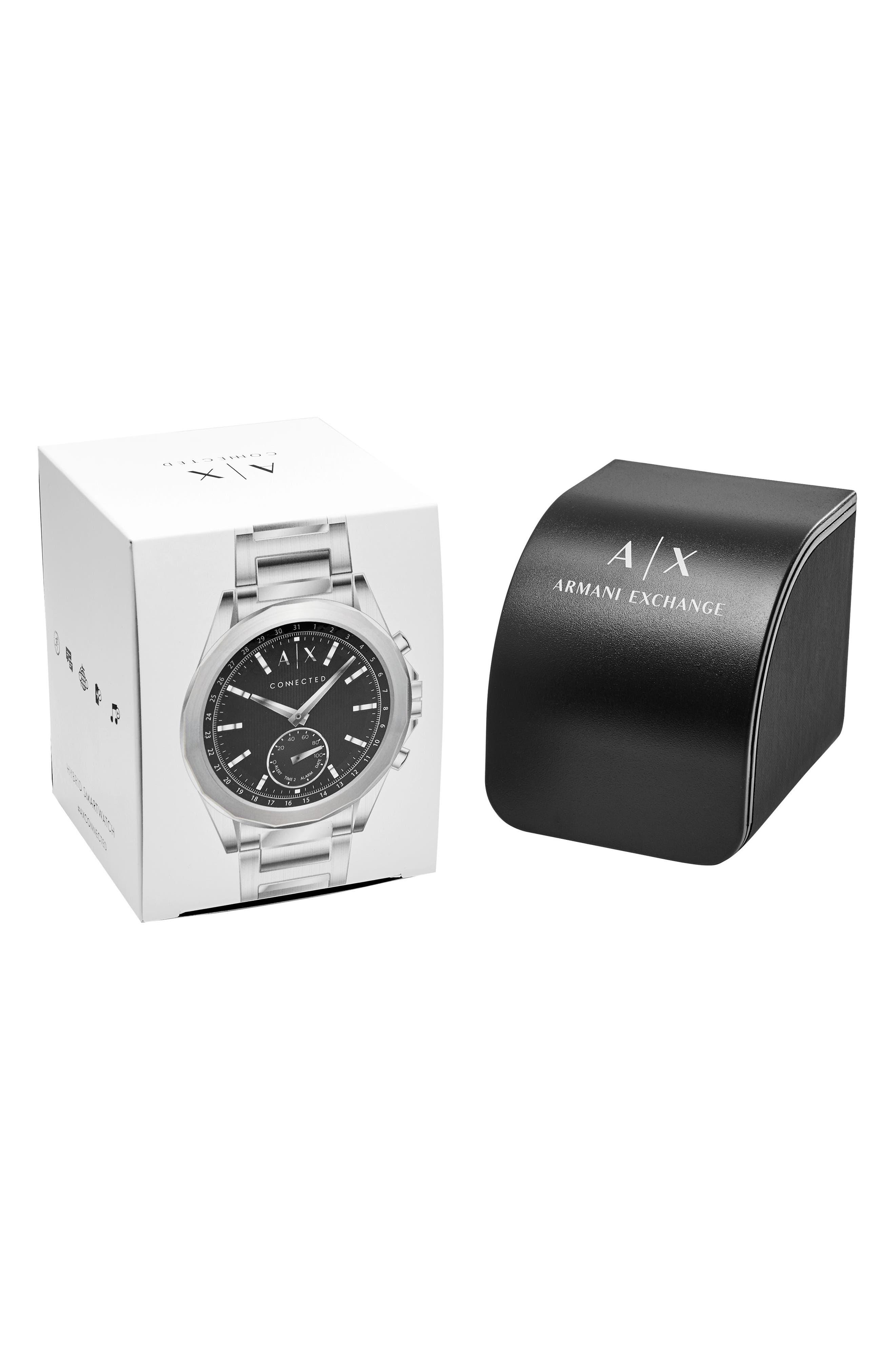 Connected Hybrid Bracelet Smartwatch, 44mm,                             Alternate thumbnail 6, color,                             Black/ Stainless Steel
