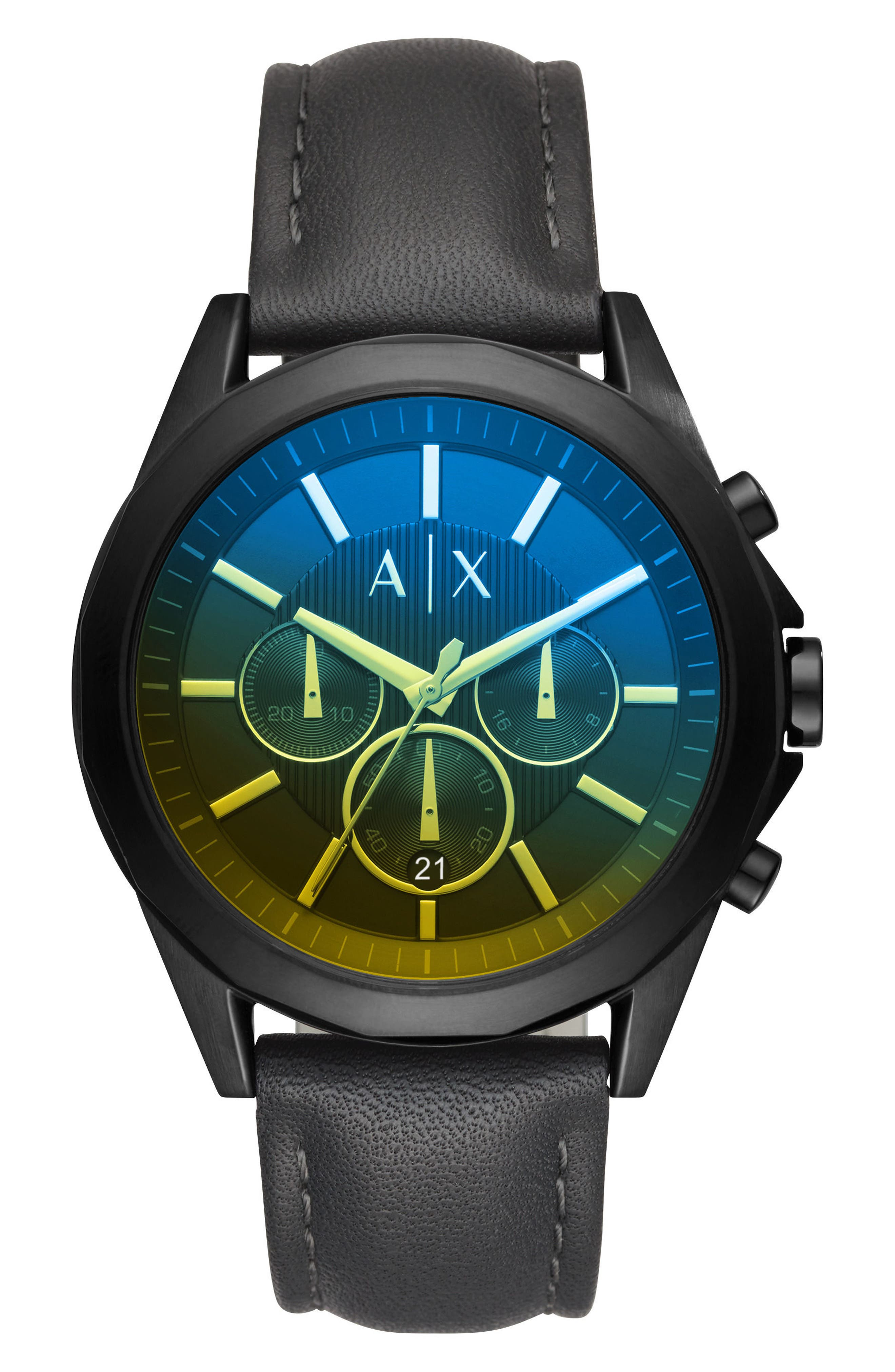 Leather Strap Chronograph Watch, 45mm,                         Main,                         color, Yellow Tint/ Charcoal