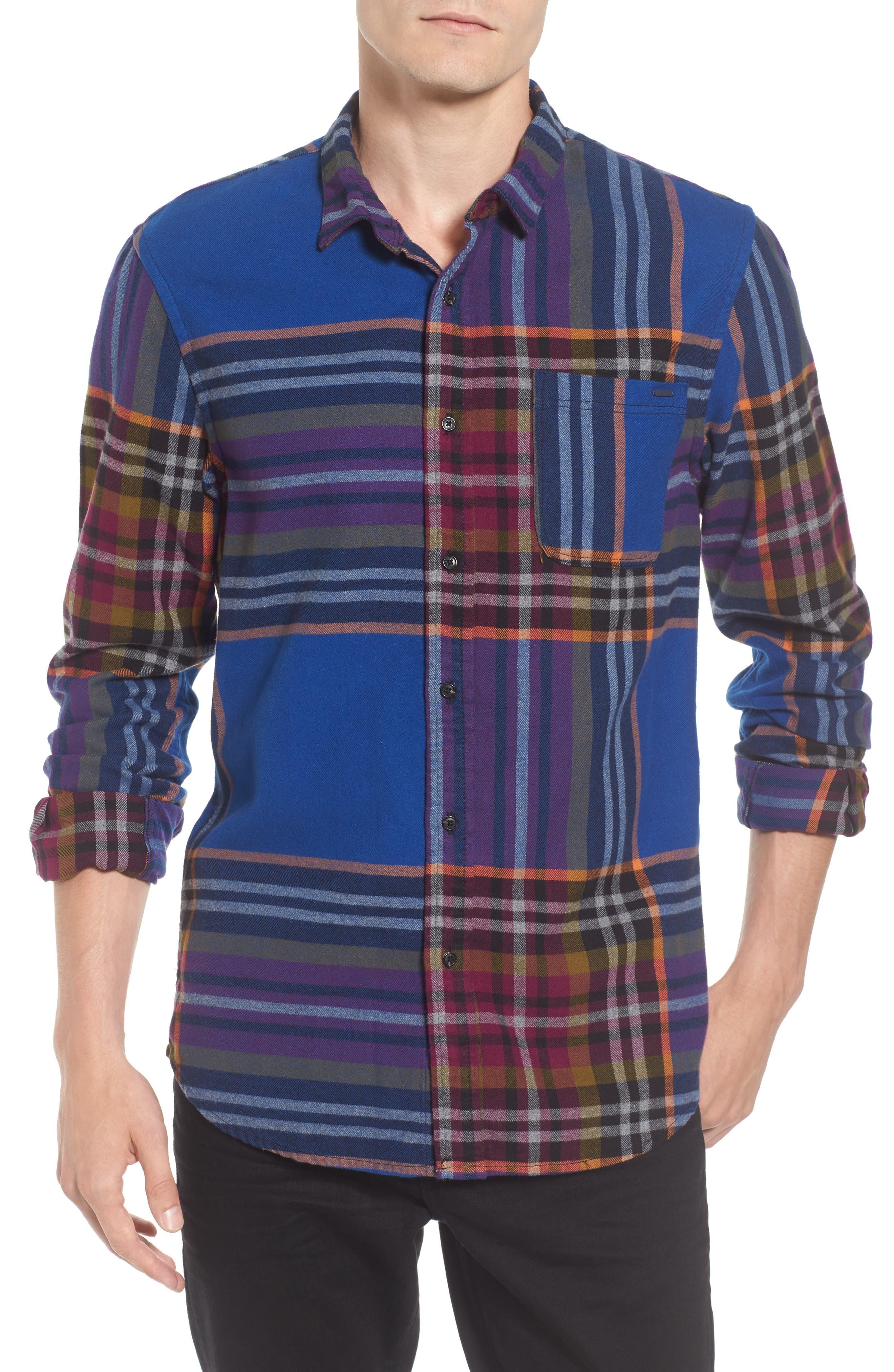 Brushed Flannel Plaid Shirt,                         Main,                         color, Blue