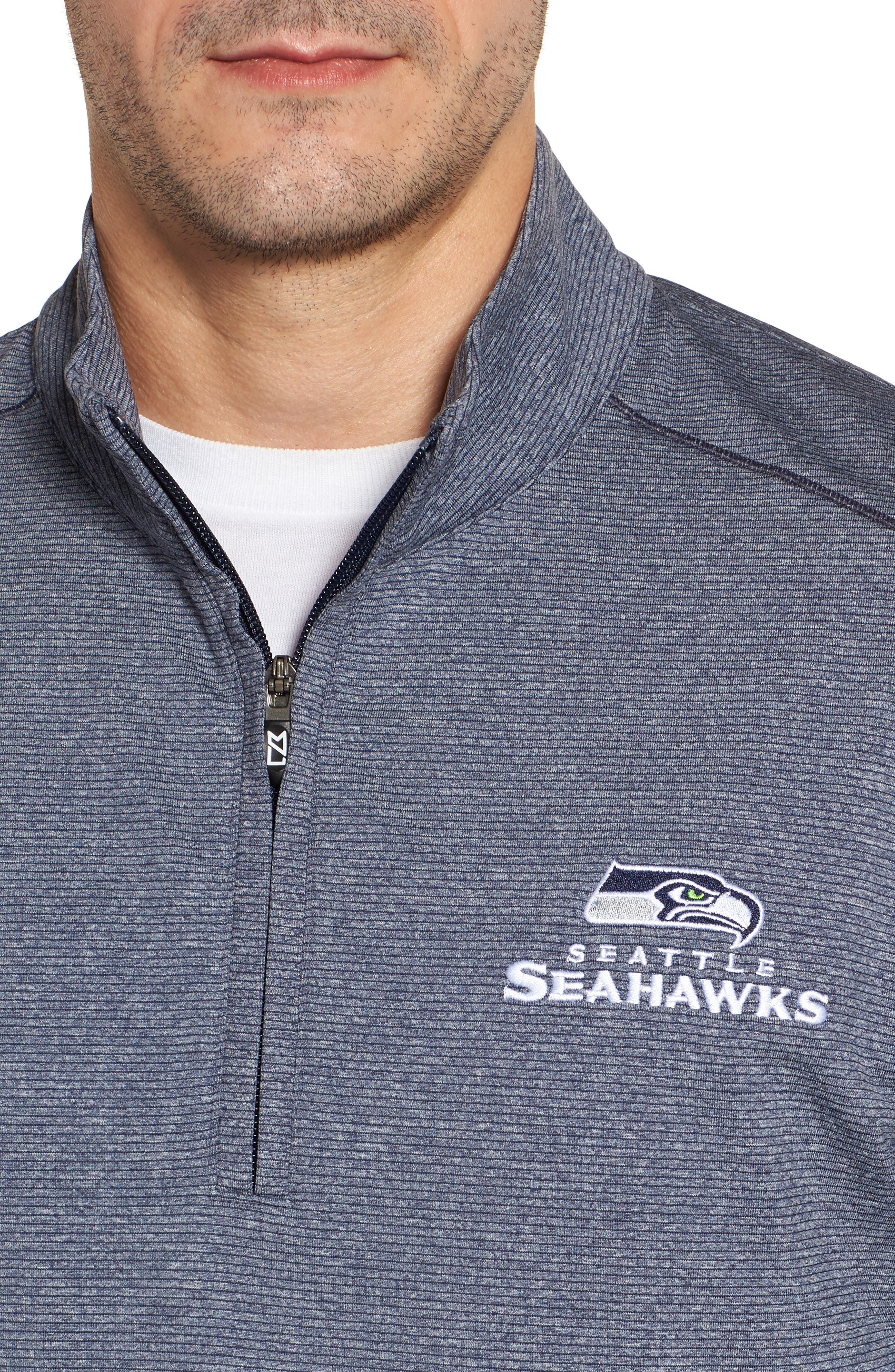 Seahawks Shoreline Quarter Zip Pullover,                             Alternate thumbnail 4, color,                             Liberty Navy Heather