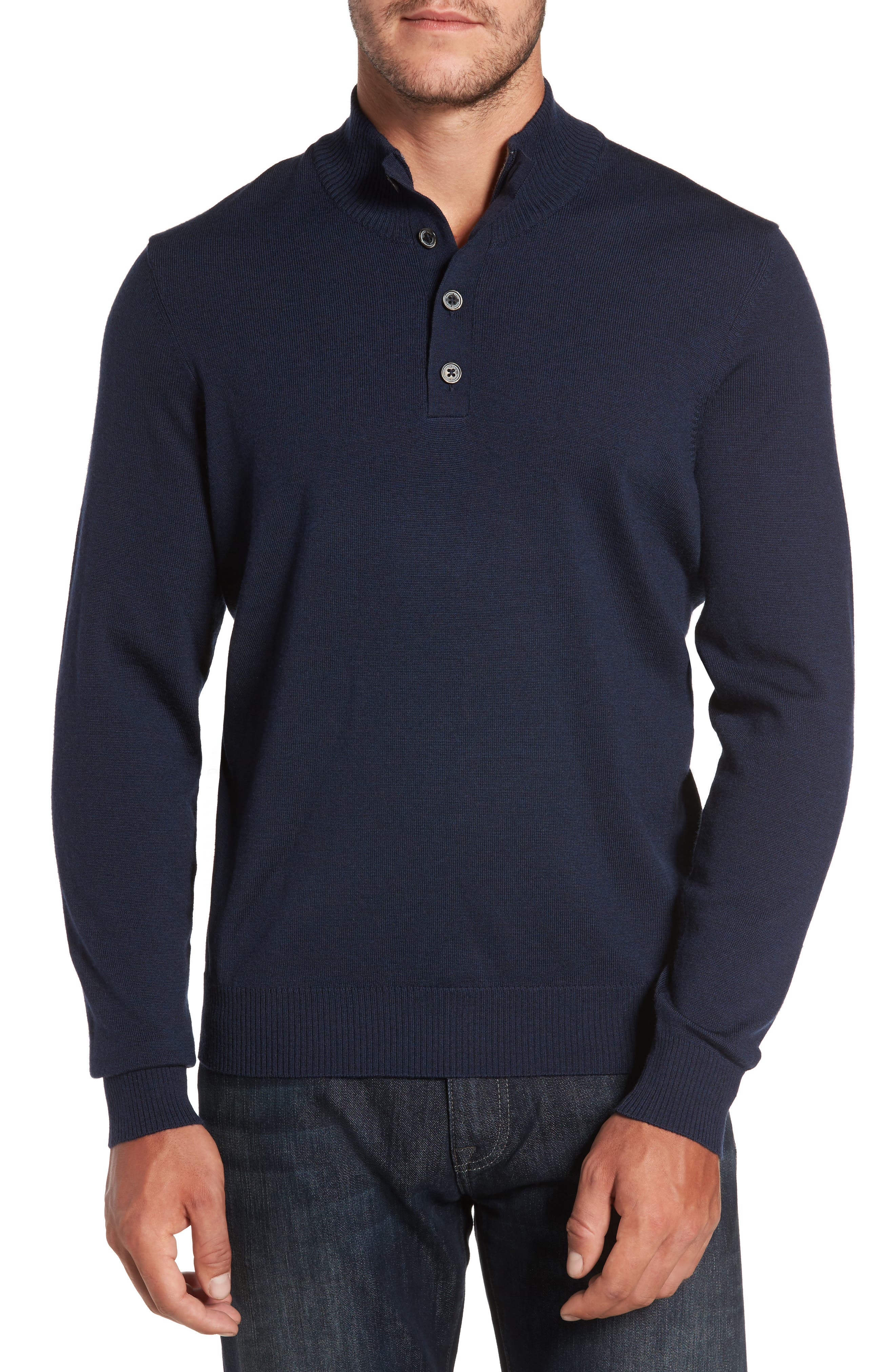 Thomas Dean Merino Wool Blend Mock Neck Sweater