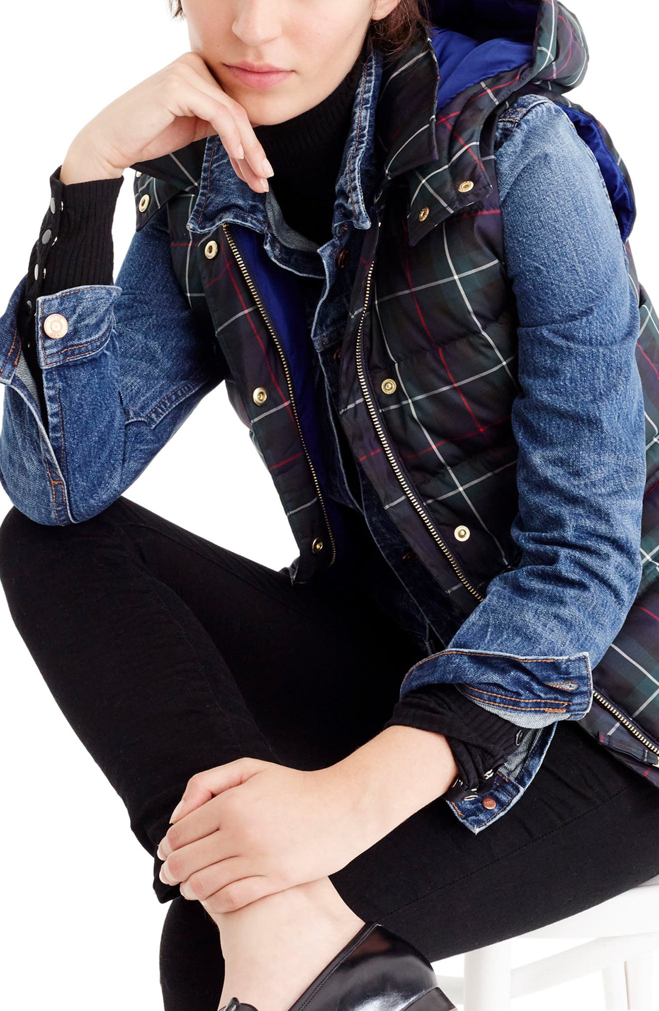 Plaid Puffer Vest,                         Main,                         color, Navy Red Cream