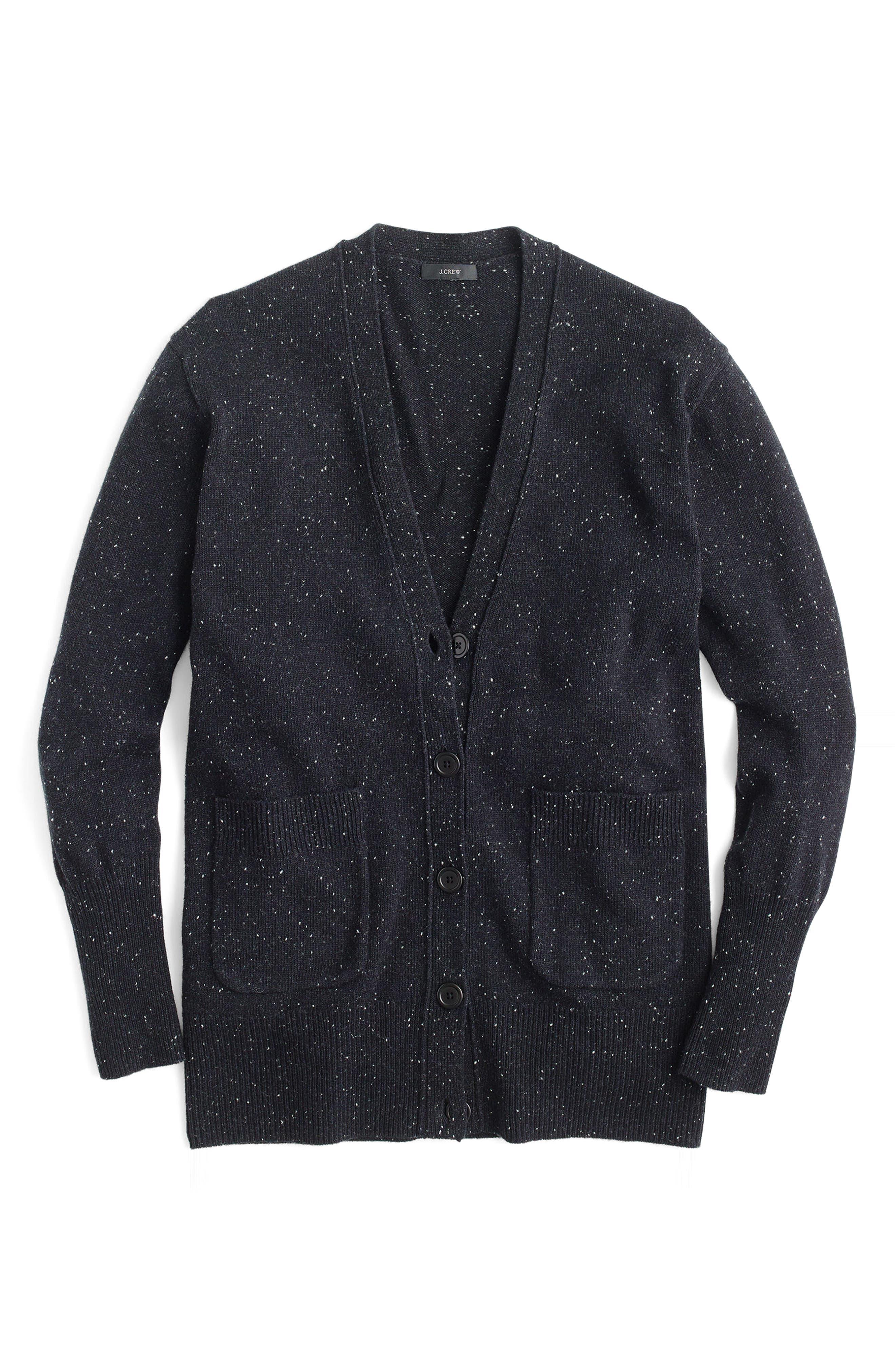 Long Donegal Wool Cardigan,                             Alternate thumbnail 6, color,                             Black Donegal