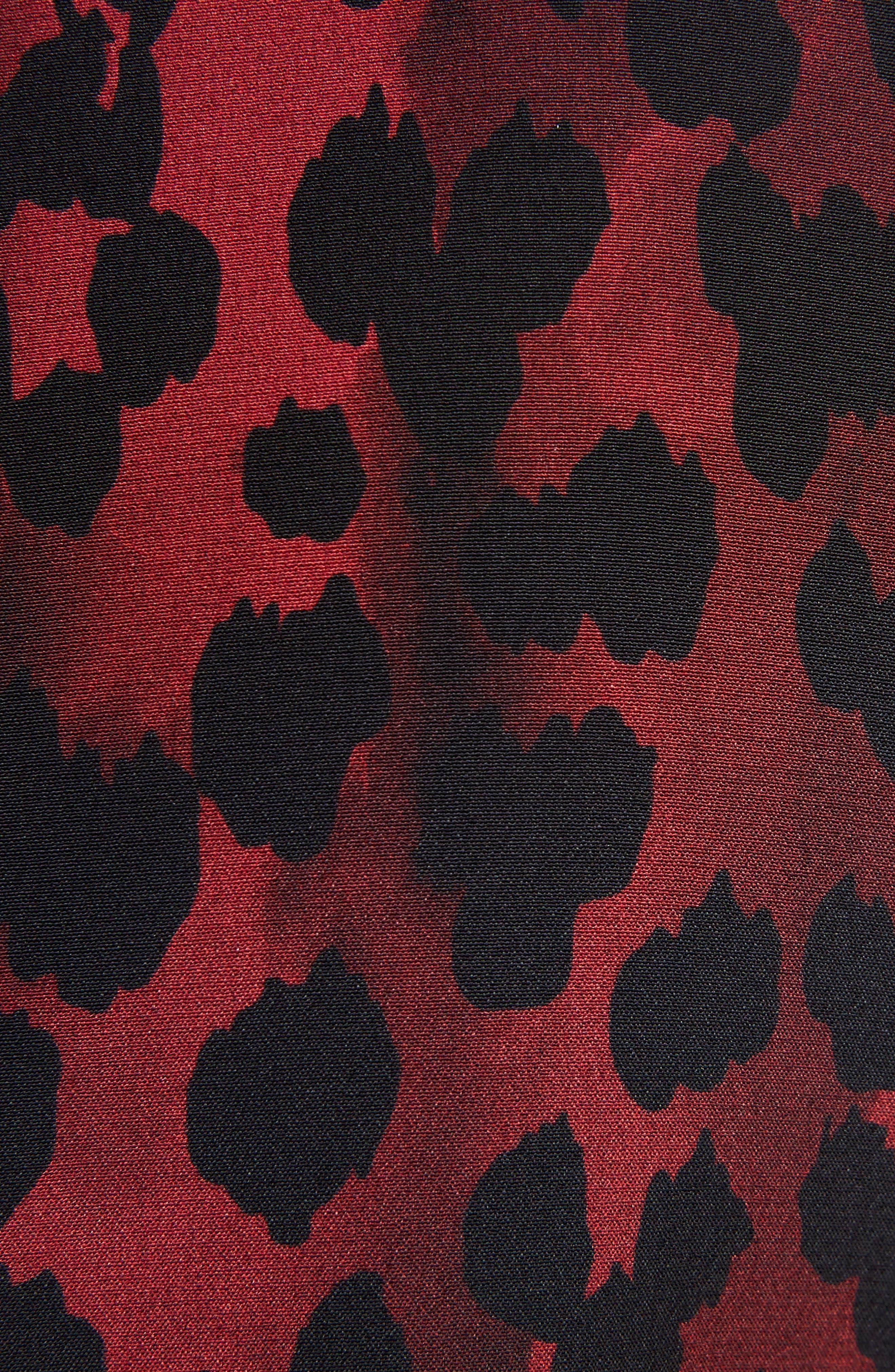 Silk Crêpe de Chine Leopard Print Shift Dress,                             Alternate thumbnail 5, color,                             Rouge