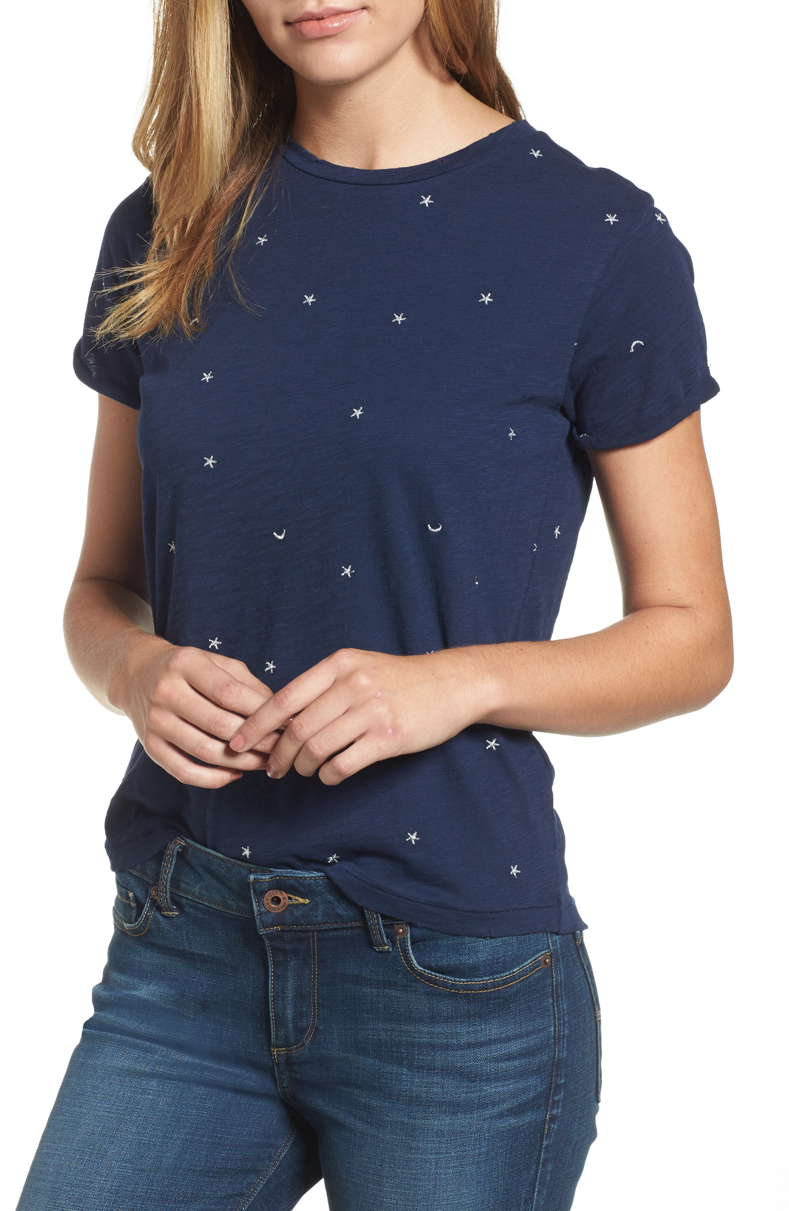 Embroidered Crewneck Tee,                         Main,                         color, American Navy