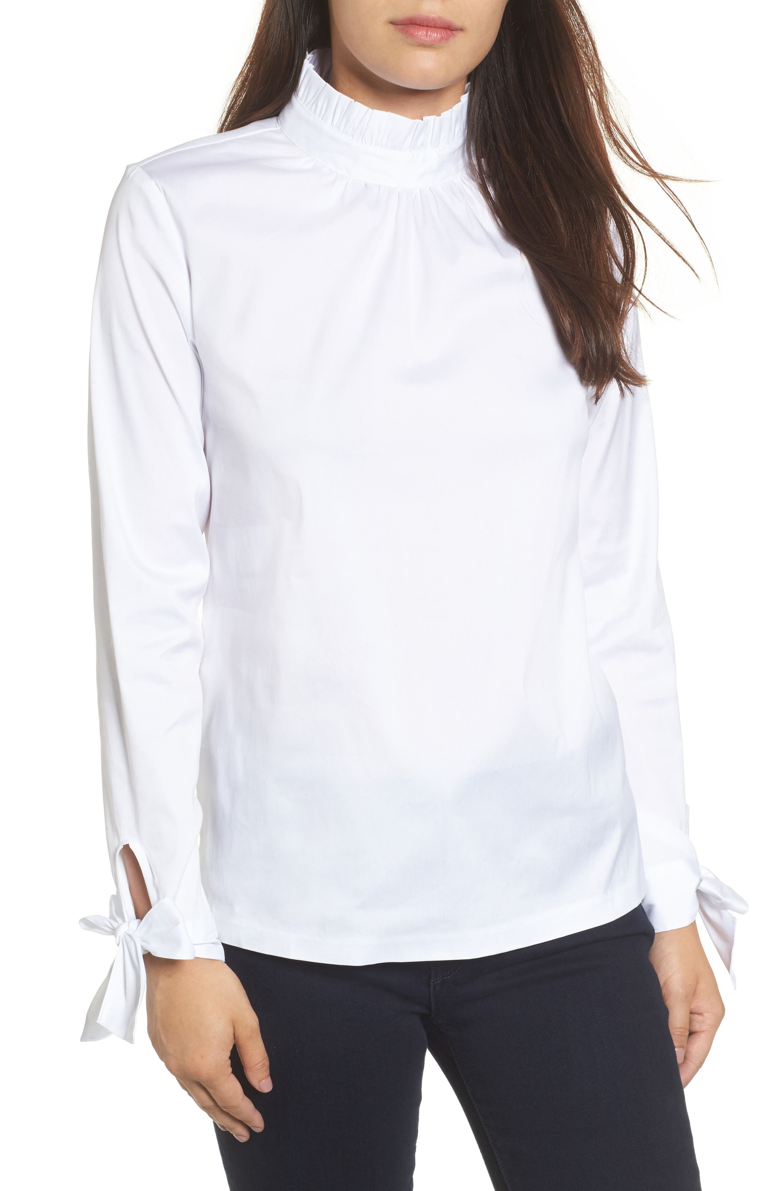 Halogen Tie Sleeve Poplin Shirt (Regular & Petite)