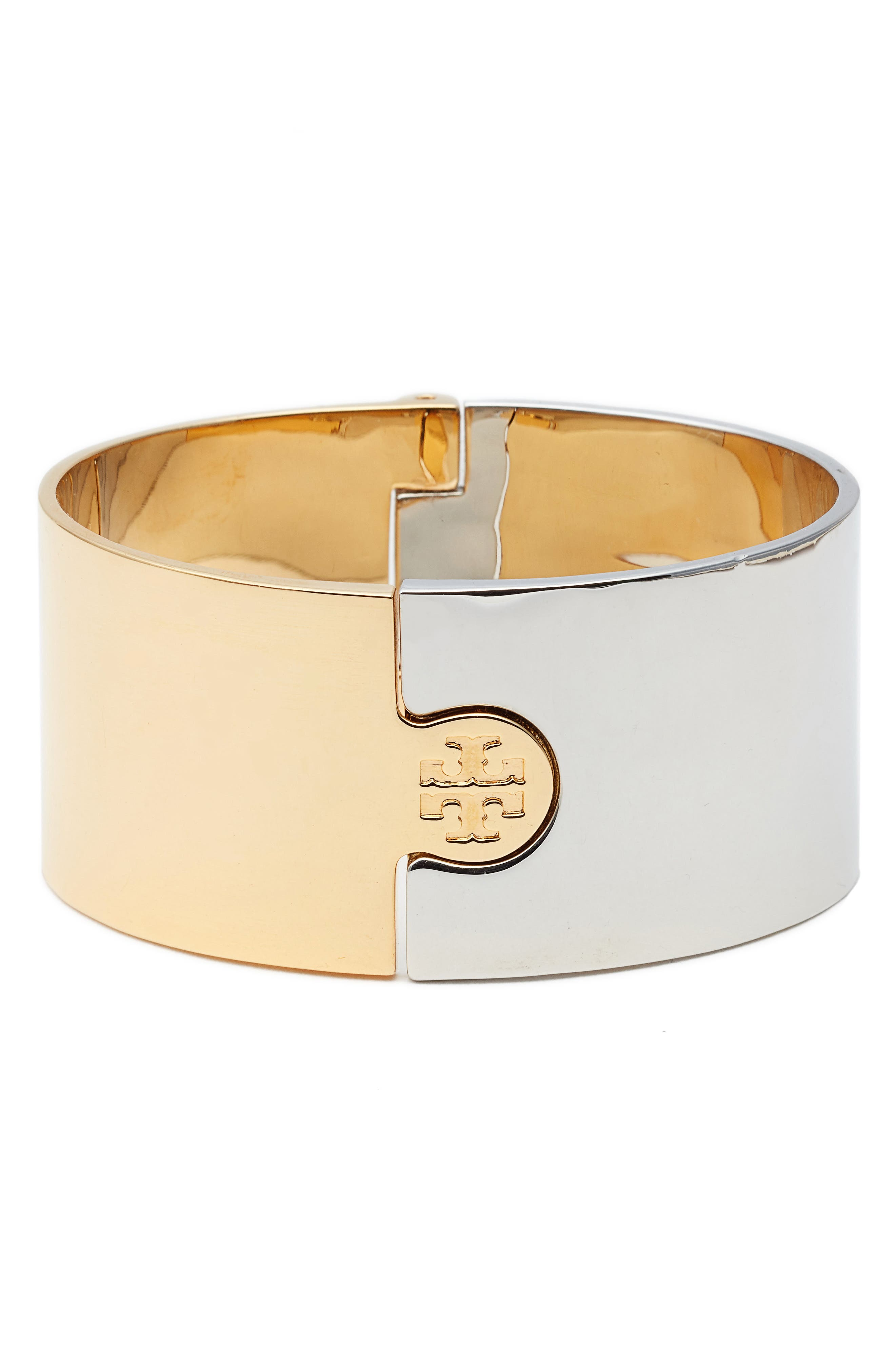 Wide Puzzle Cuff,                         Main,                         color, Tory Gold / Tory Silver
