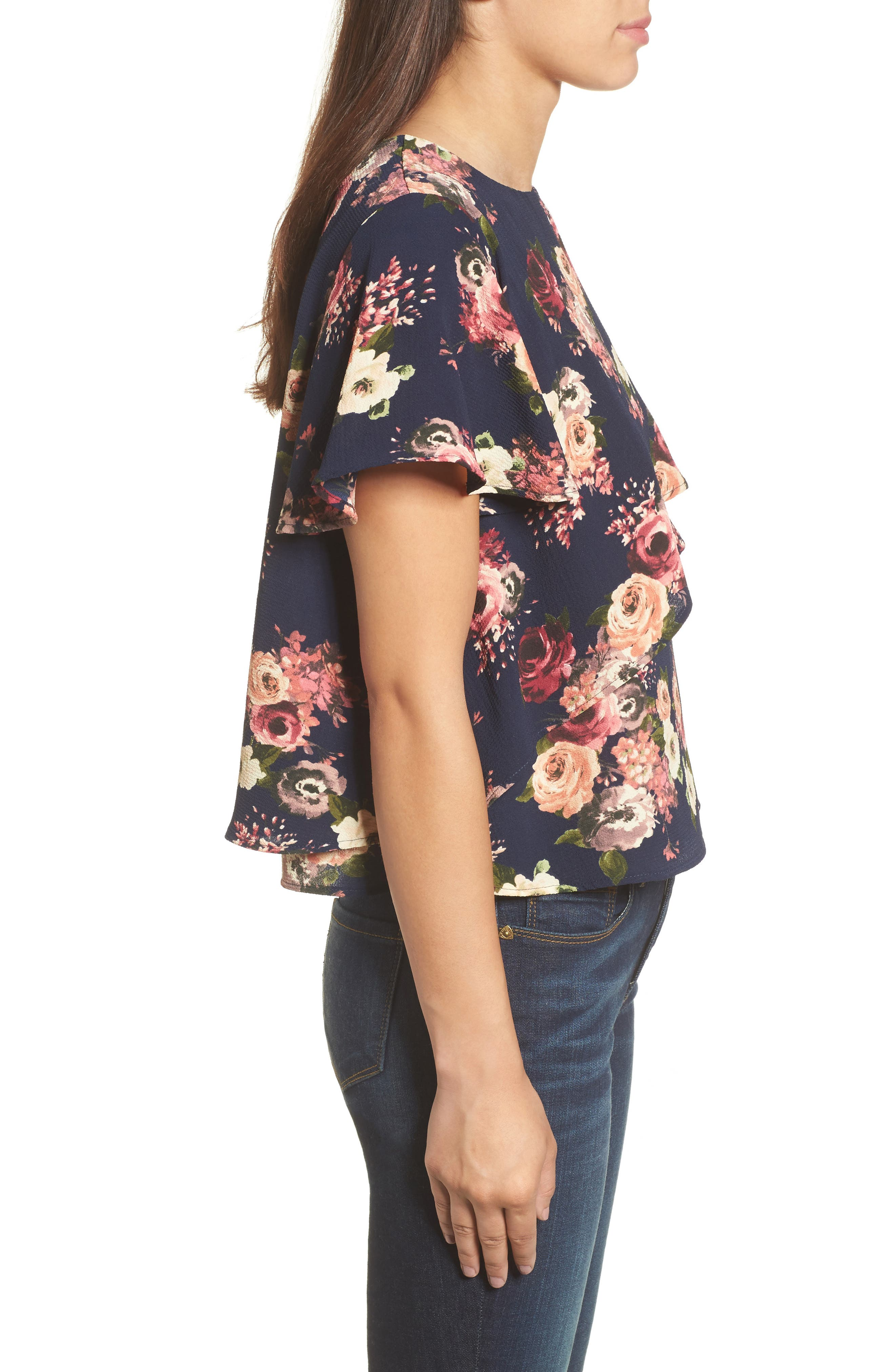 Layered Floral Top,                             Alternate thumbnail 3, color,                             Navy Floral