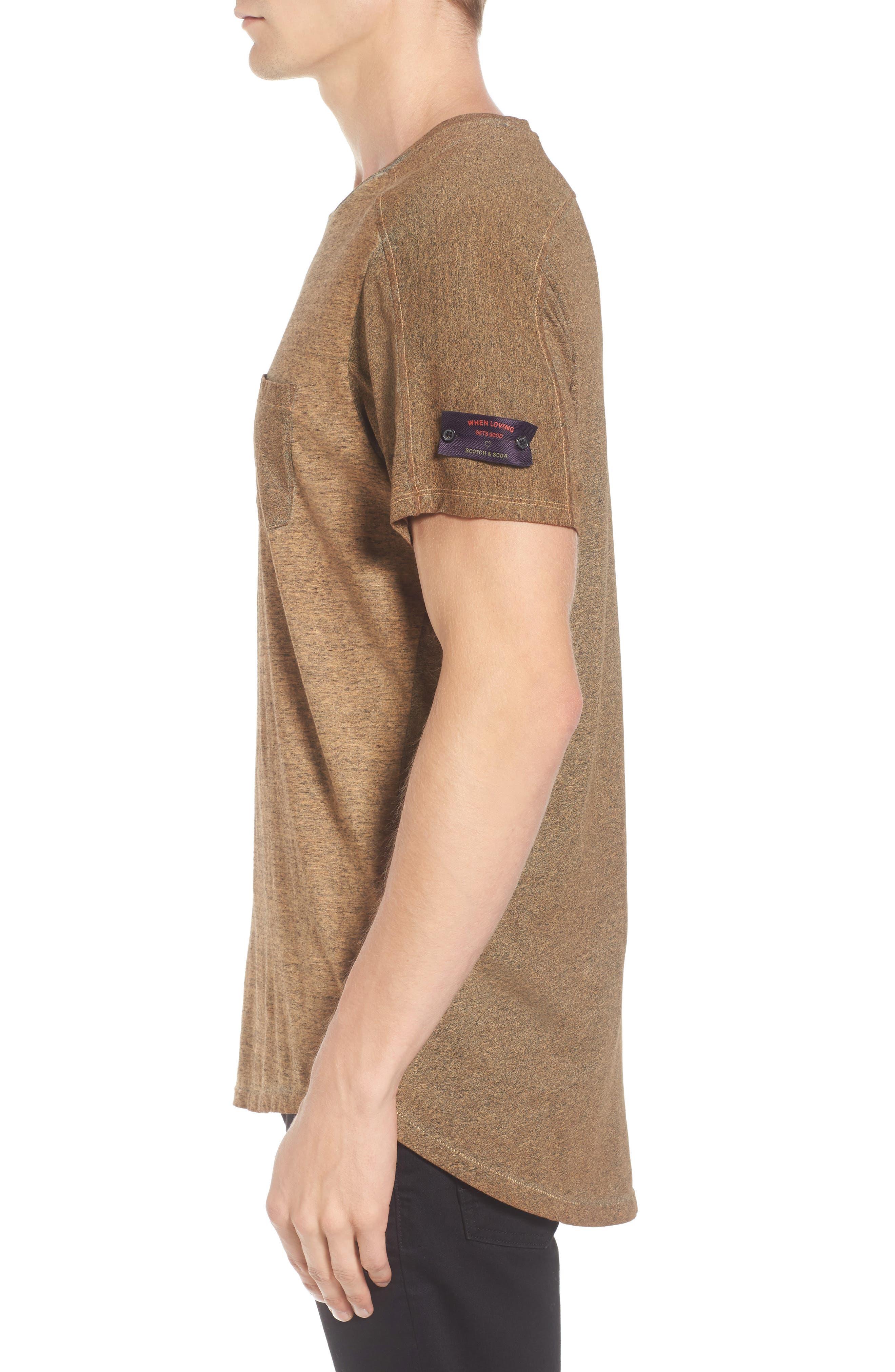 Oil-Washed Pocket T-Shirt,                             Alternate thumbnail 3, color,                             Ginger
