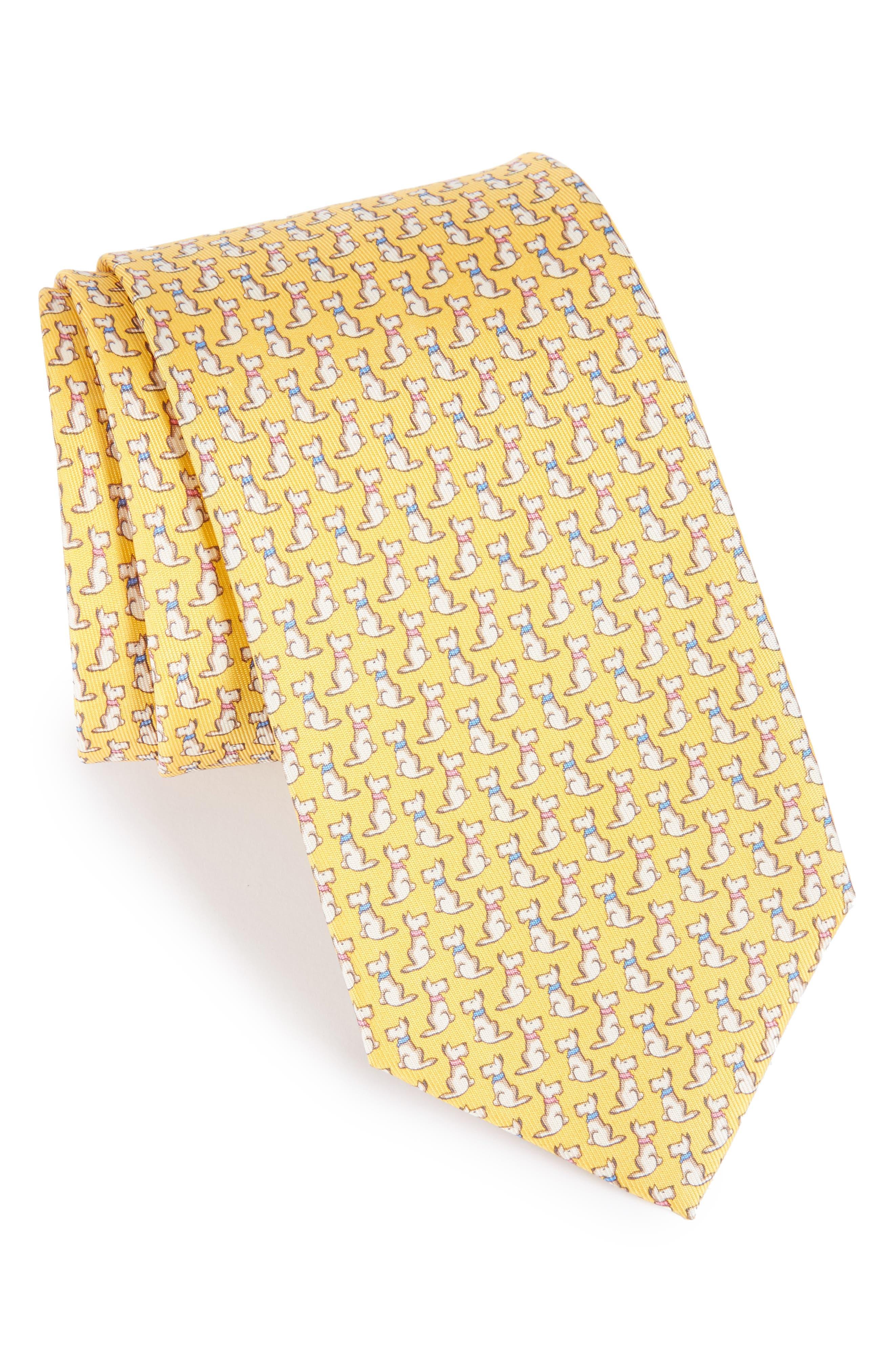 Salvatore Ferragamo Augusto Dog Print Silk Tie