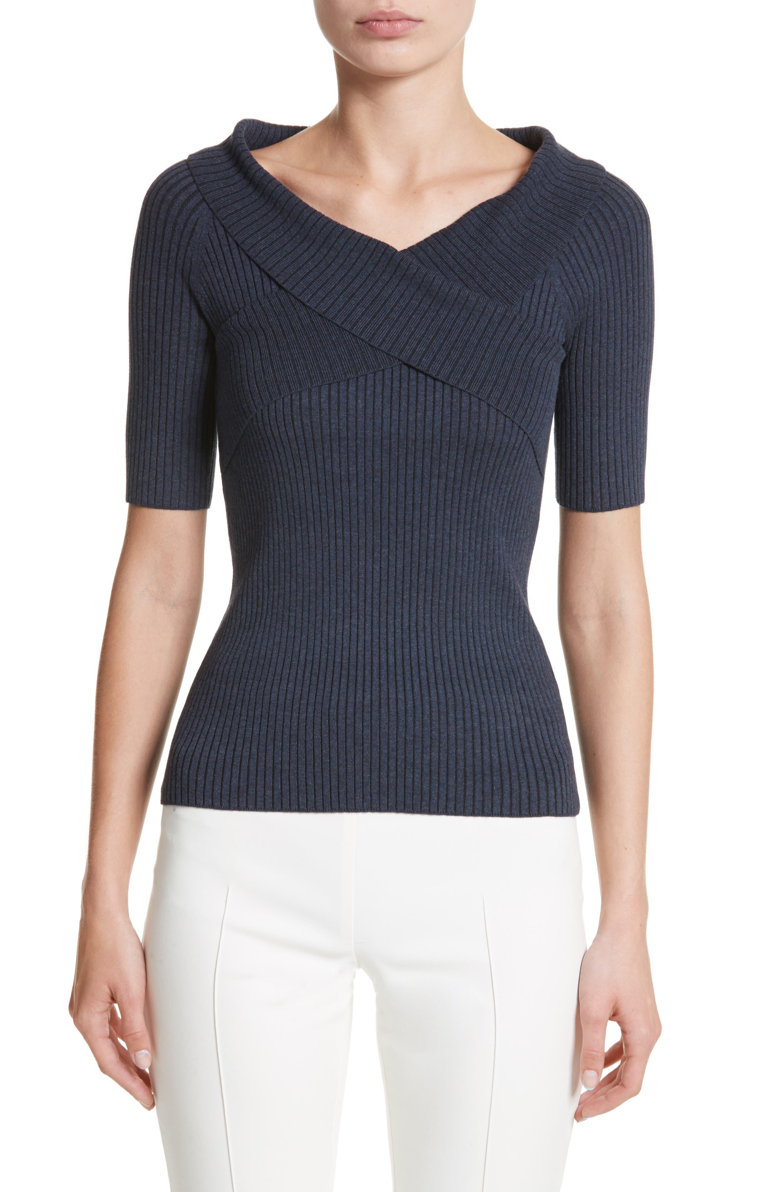 Knit Top,                         Main,                         color, Blue Denim