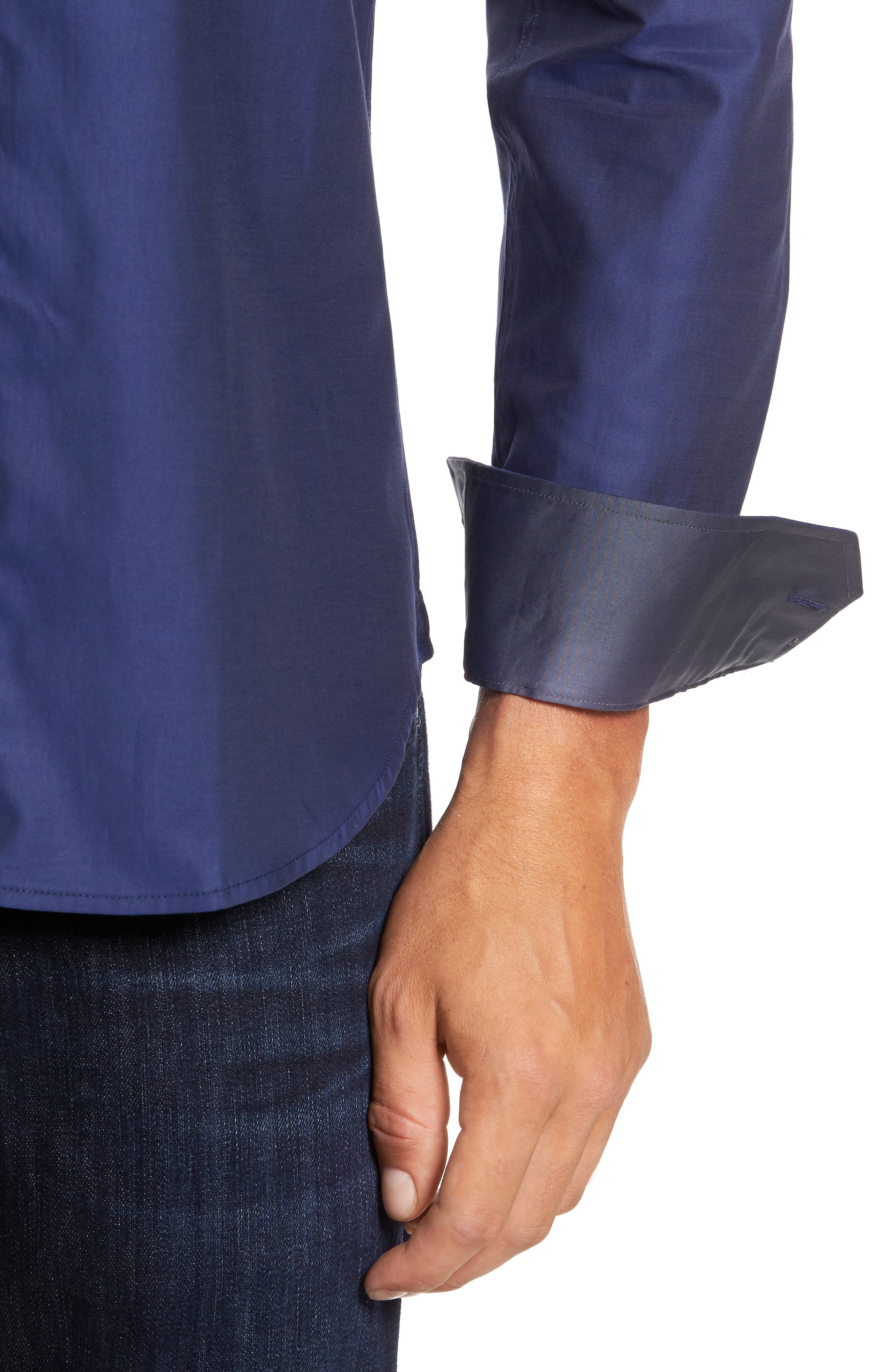 Alternate Image 4  - Bugatchi Trim Fit Solid Sport Shirt