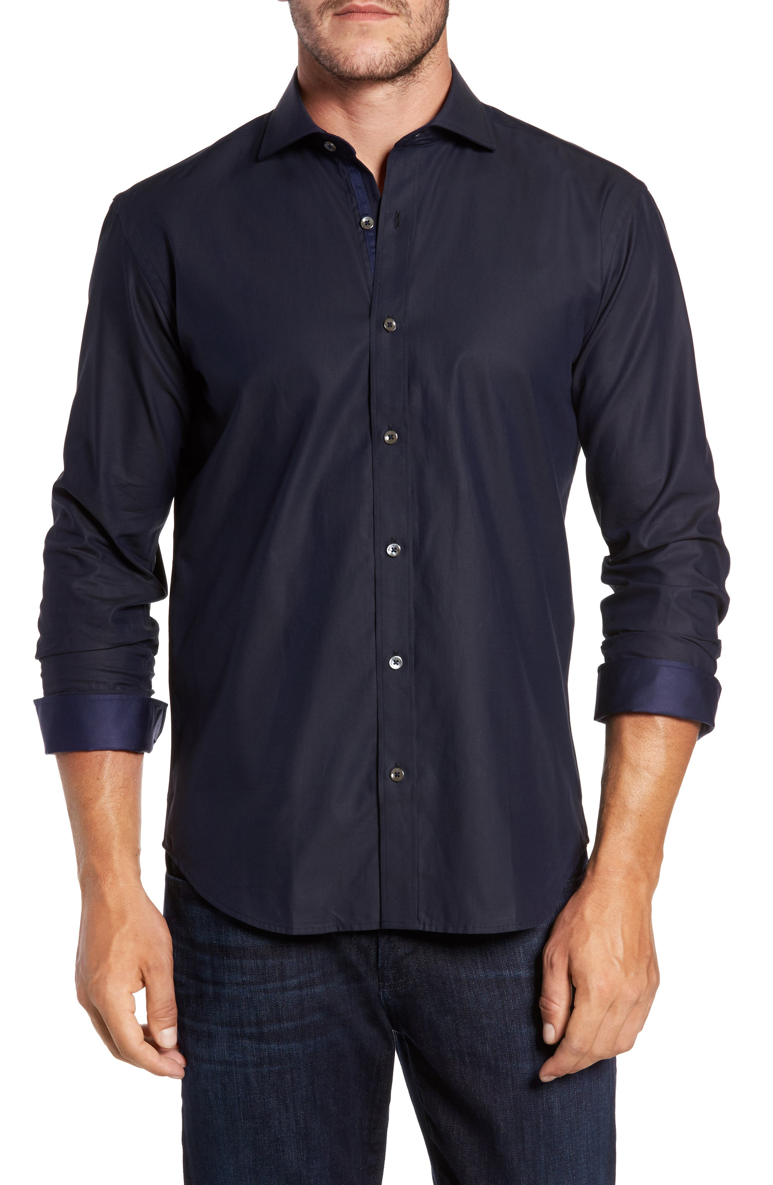 Trim Fit Solid Sport Shirt,                         Main,                         color, Midnight