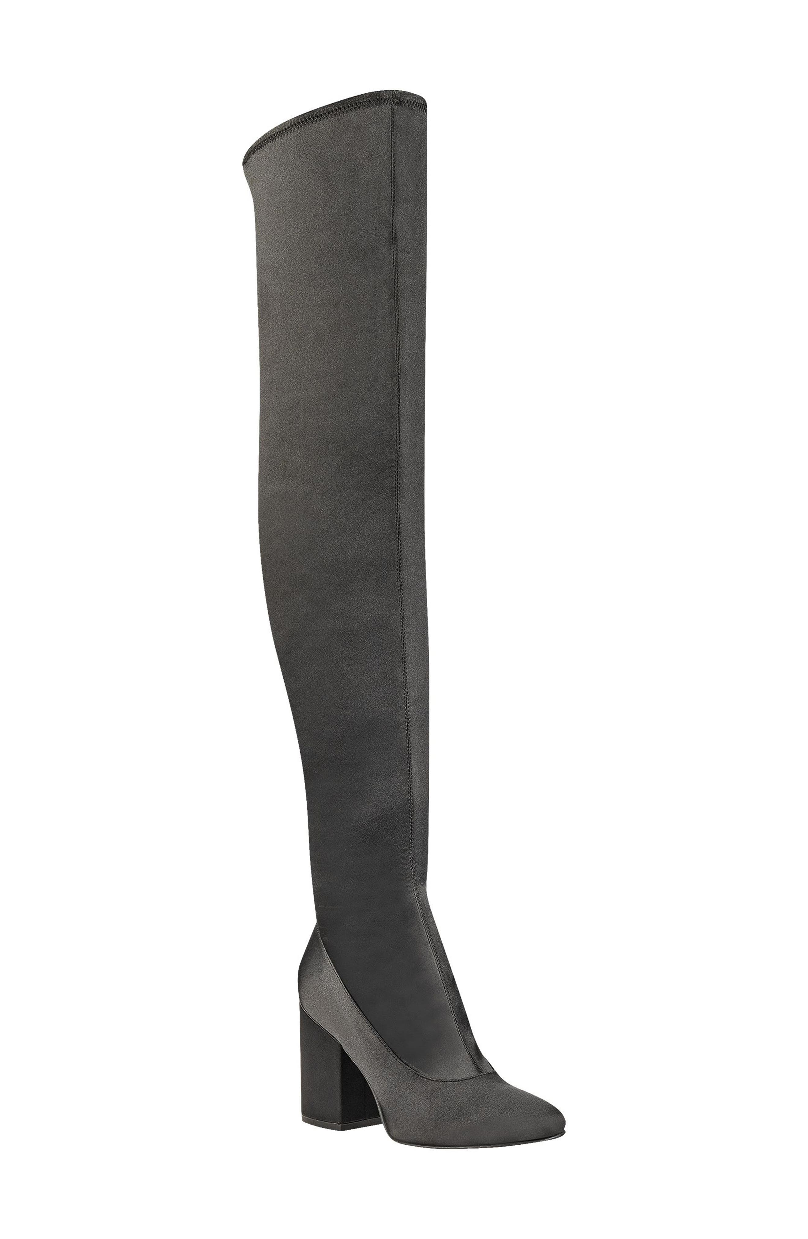 Praye Over the Knee Boot,                             Main thumbnail 1, color,                             Black Faux Satin
