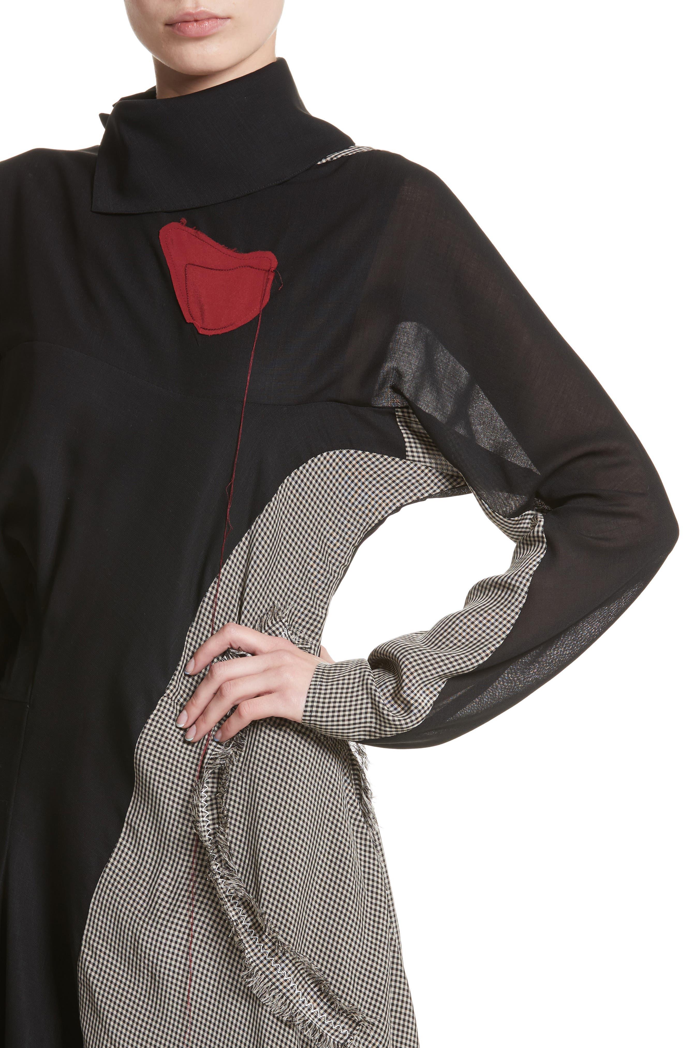 Dragica Mixed Media Dress,                             Alternate thumbnail 4, color,                             Black