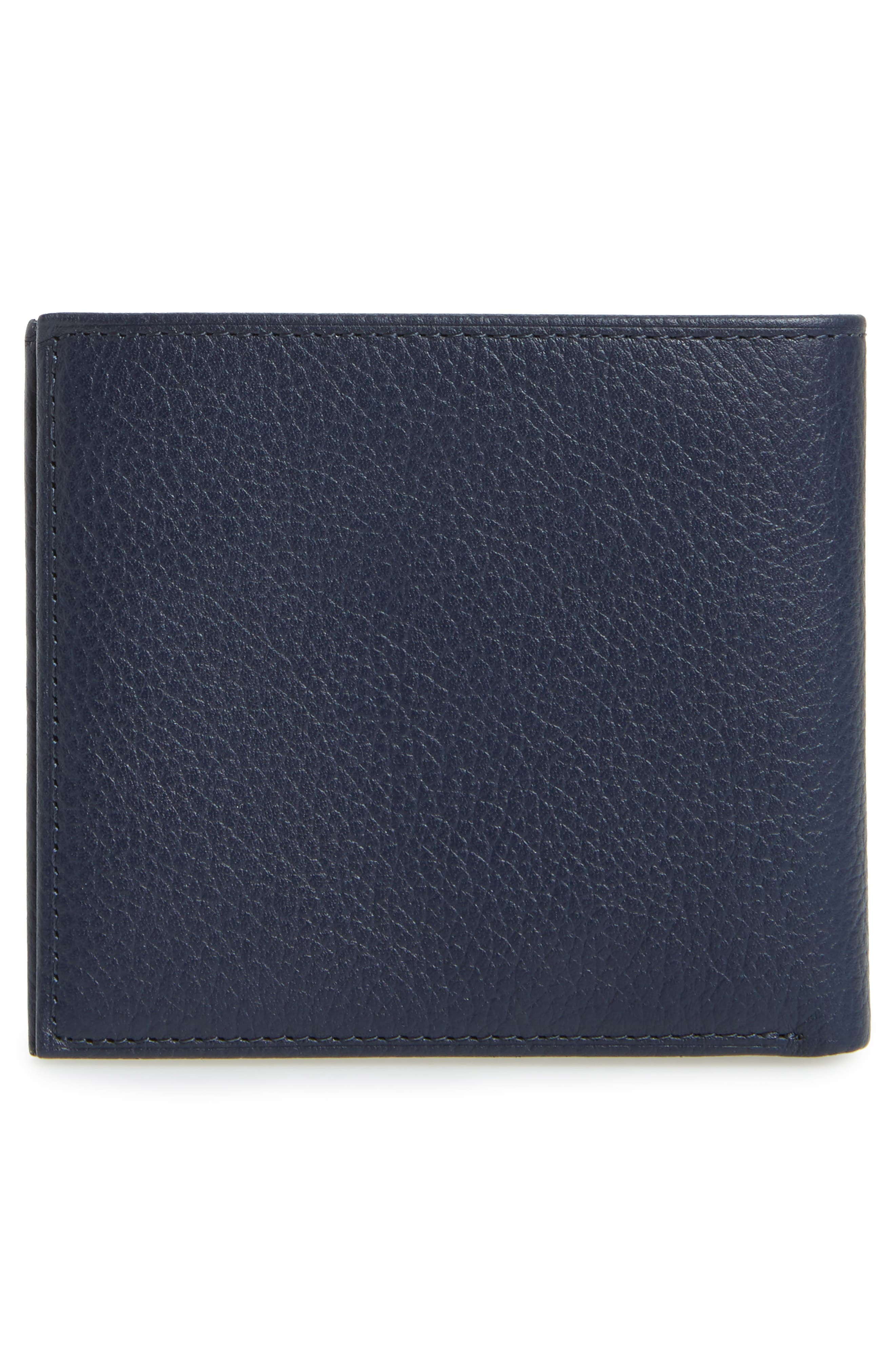 Leather Wallet,                             Alternate thumbnail 3, color,                             Blue