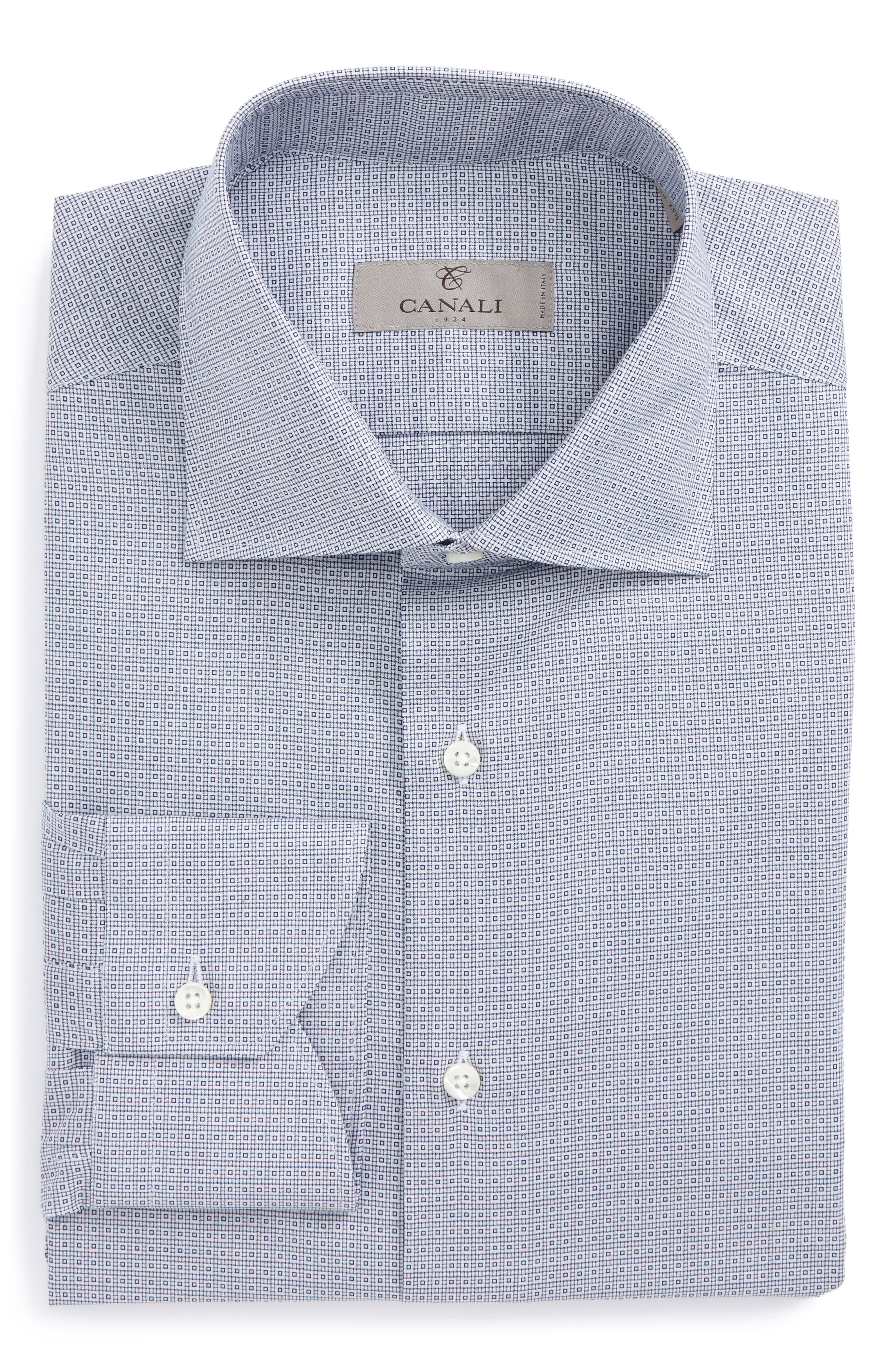 Main Image - Canali Regular Fit Geometric Dress Shirt