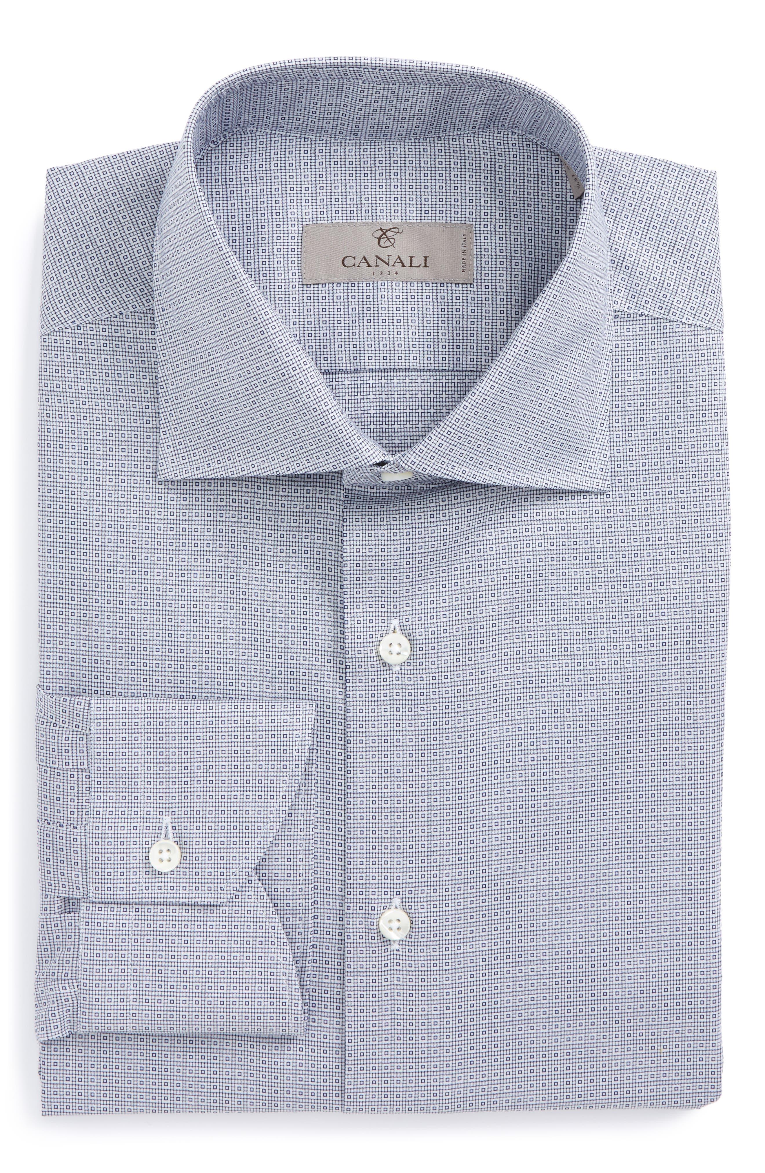Regular Fit Geometric Dress Shirt,                         Main,                         color, Blue