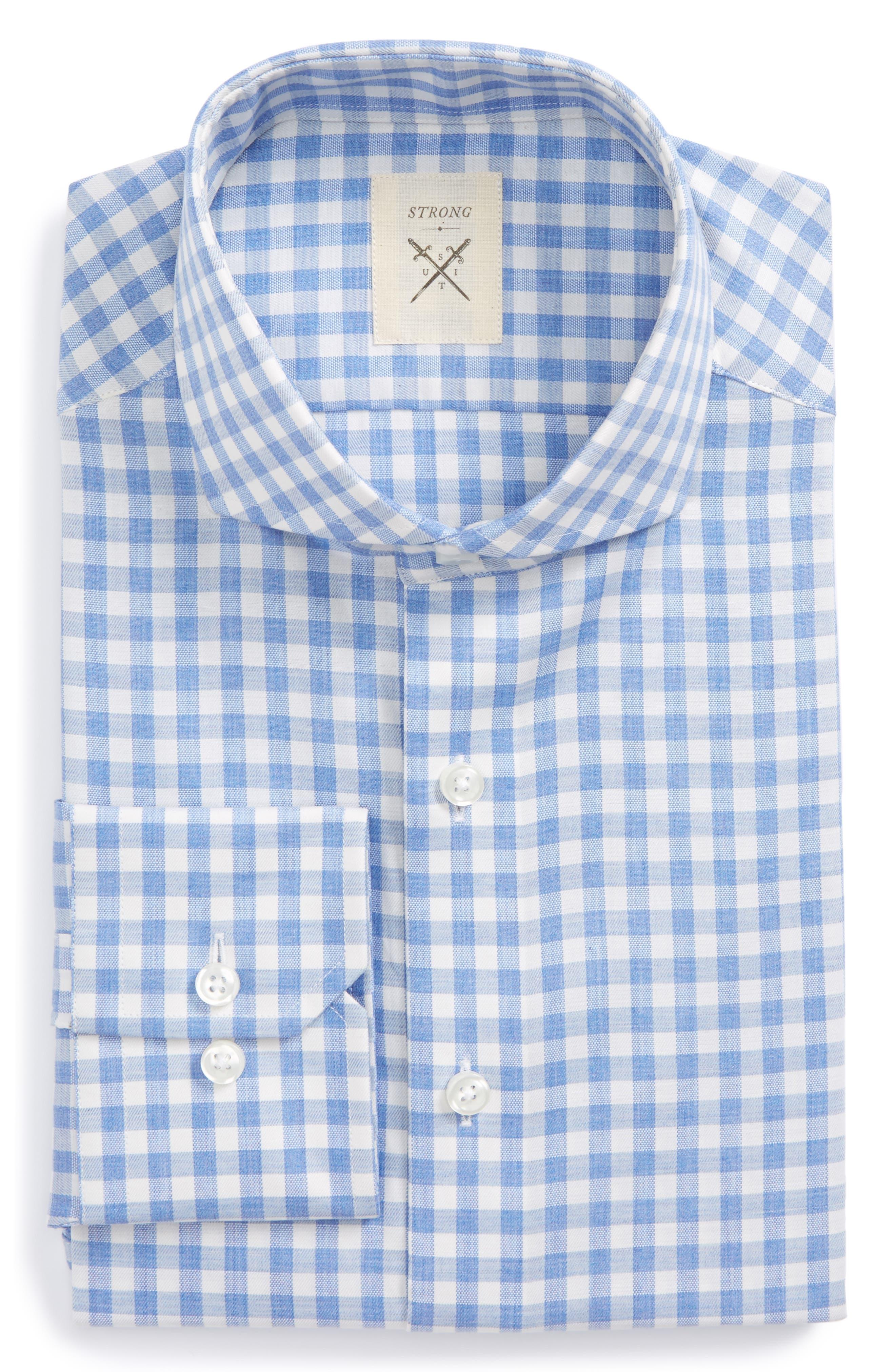 Extra Trim Fit Check Dress Shirt,                         Main,                         color, Sky