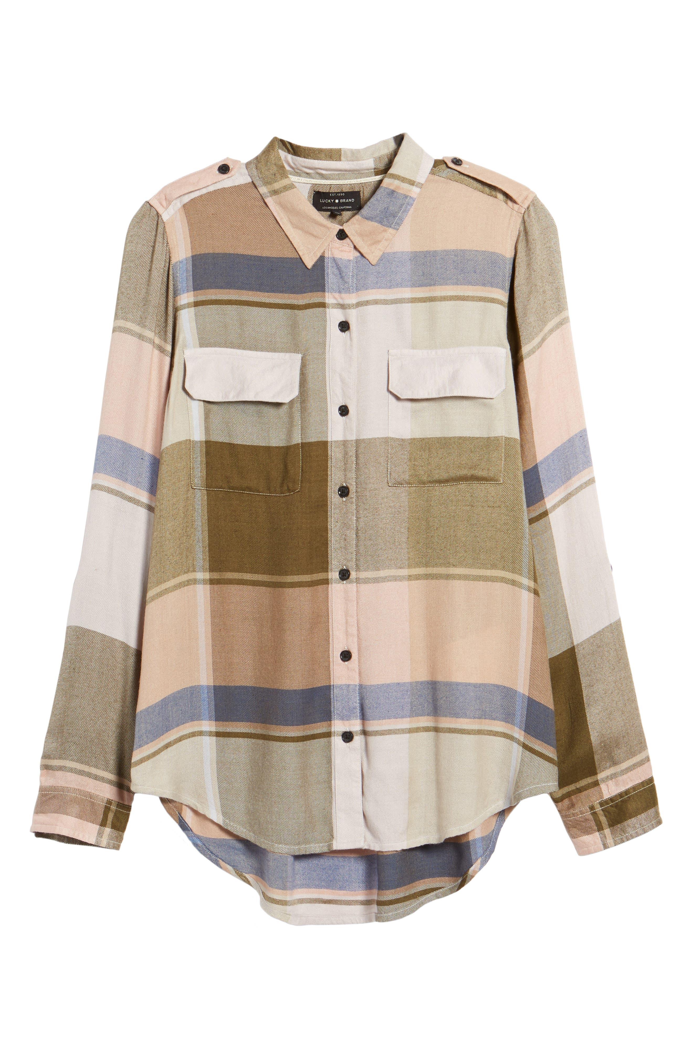 Alternate Image 6  - Lucky Brand Plaid Roll Sleeve Shirt