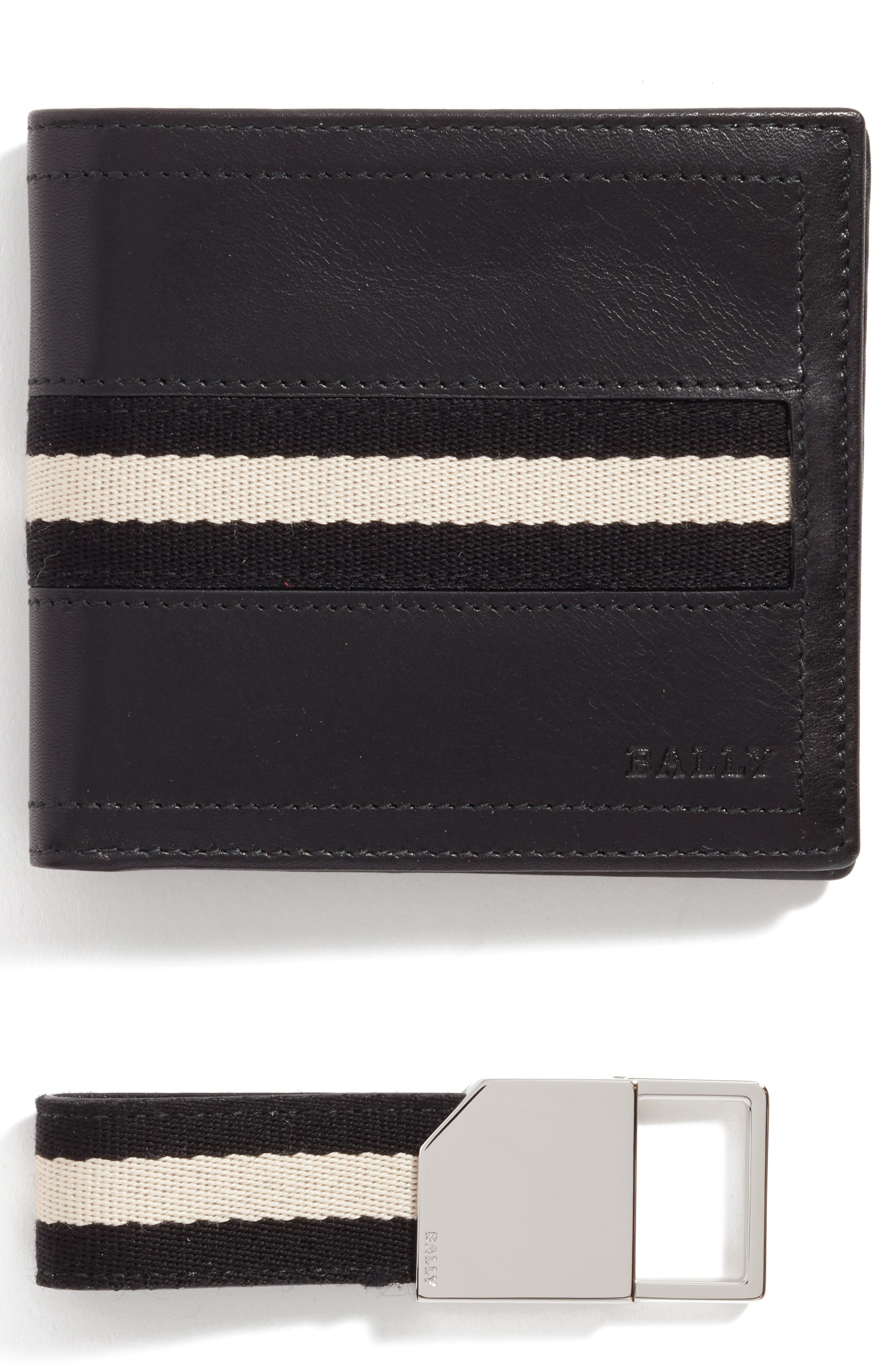 Leather Wallet and Belt Gift Set,                             Main thumbnail 1, color,                             Black