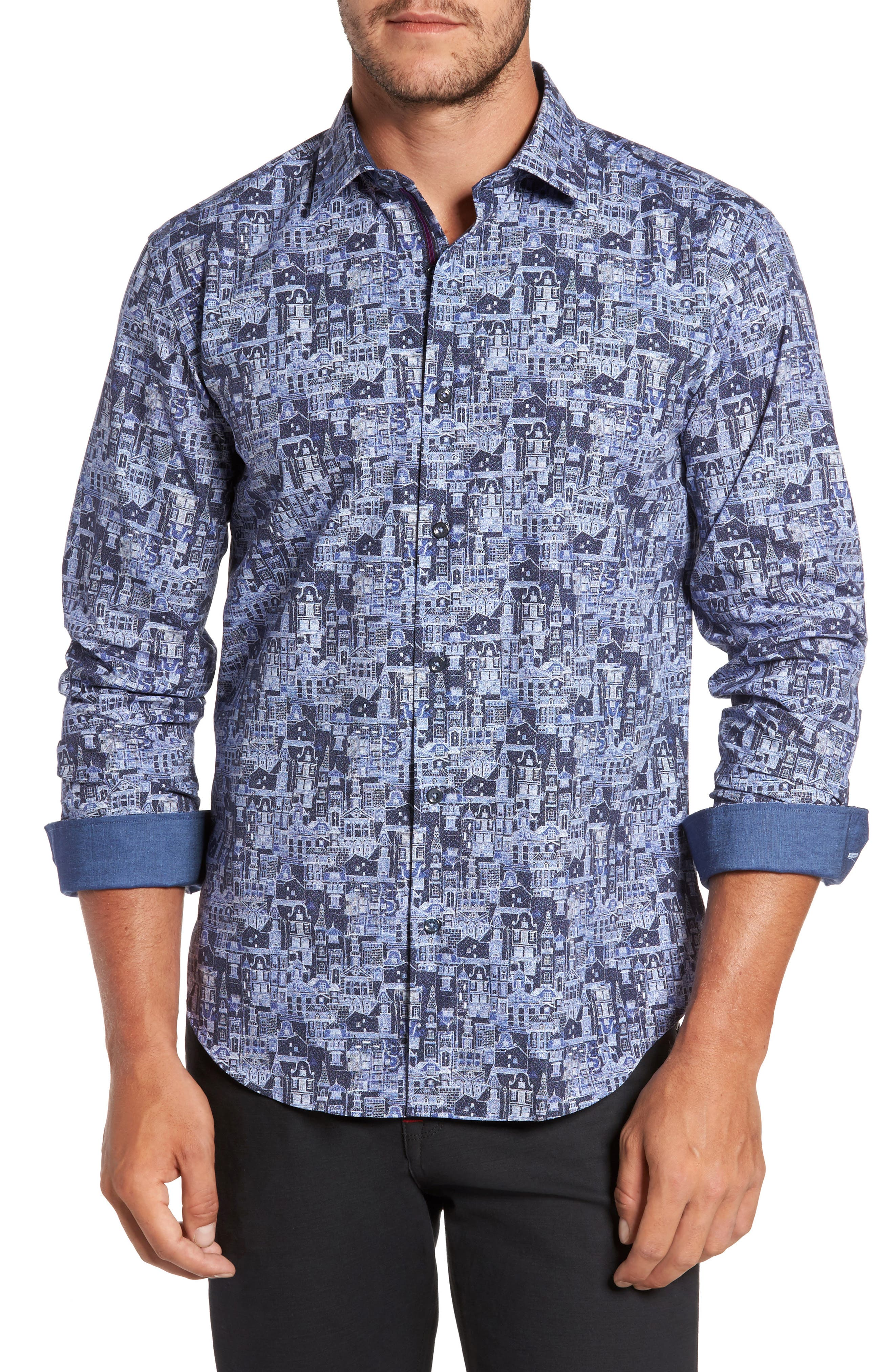 Shaped Fit Print Sport Shirt,                         Main,                         color, Navy