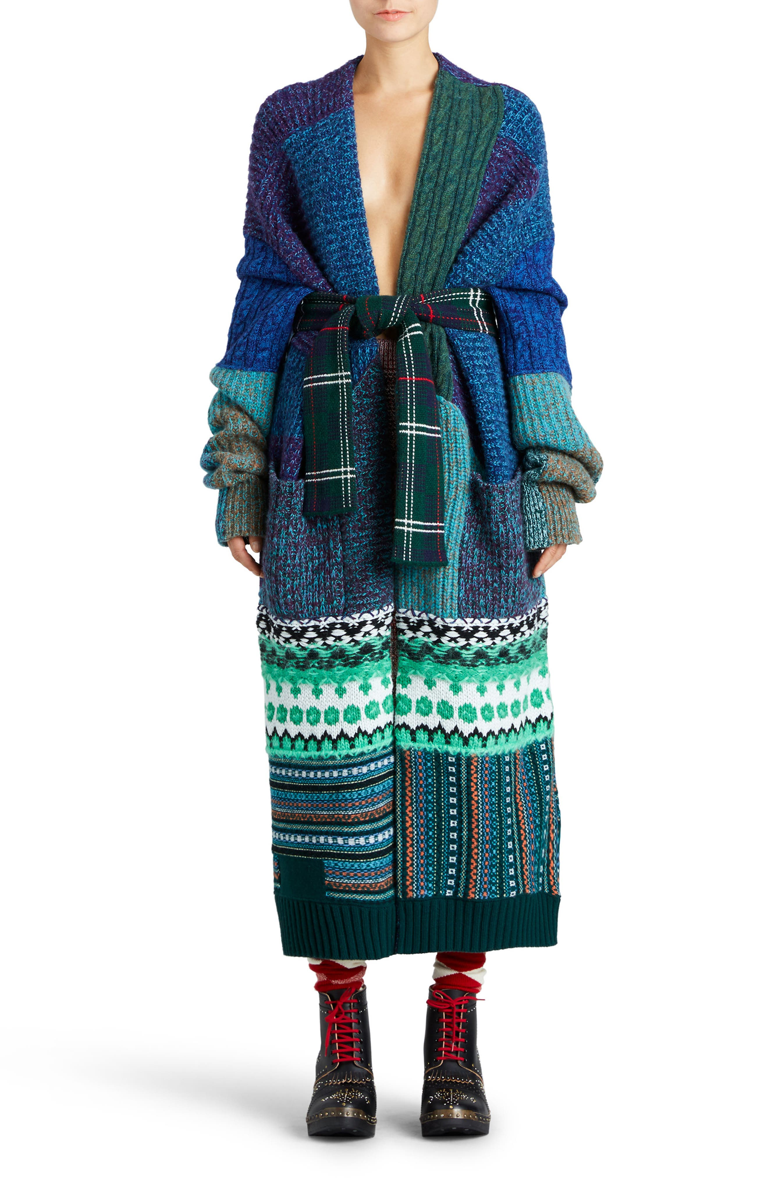 Burberry Cashmere & Wool Blend Patchwork Cardigan