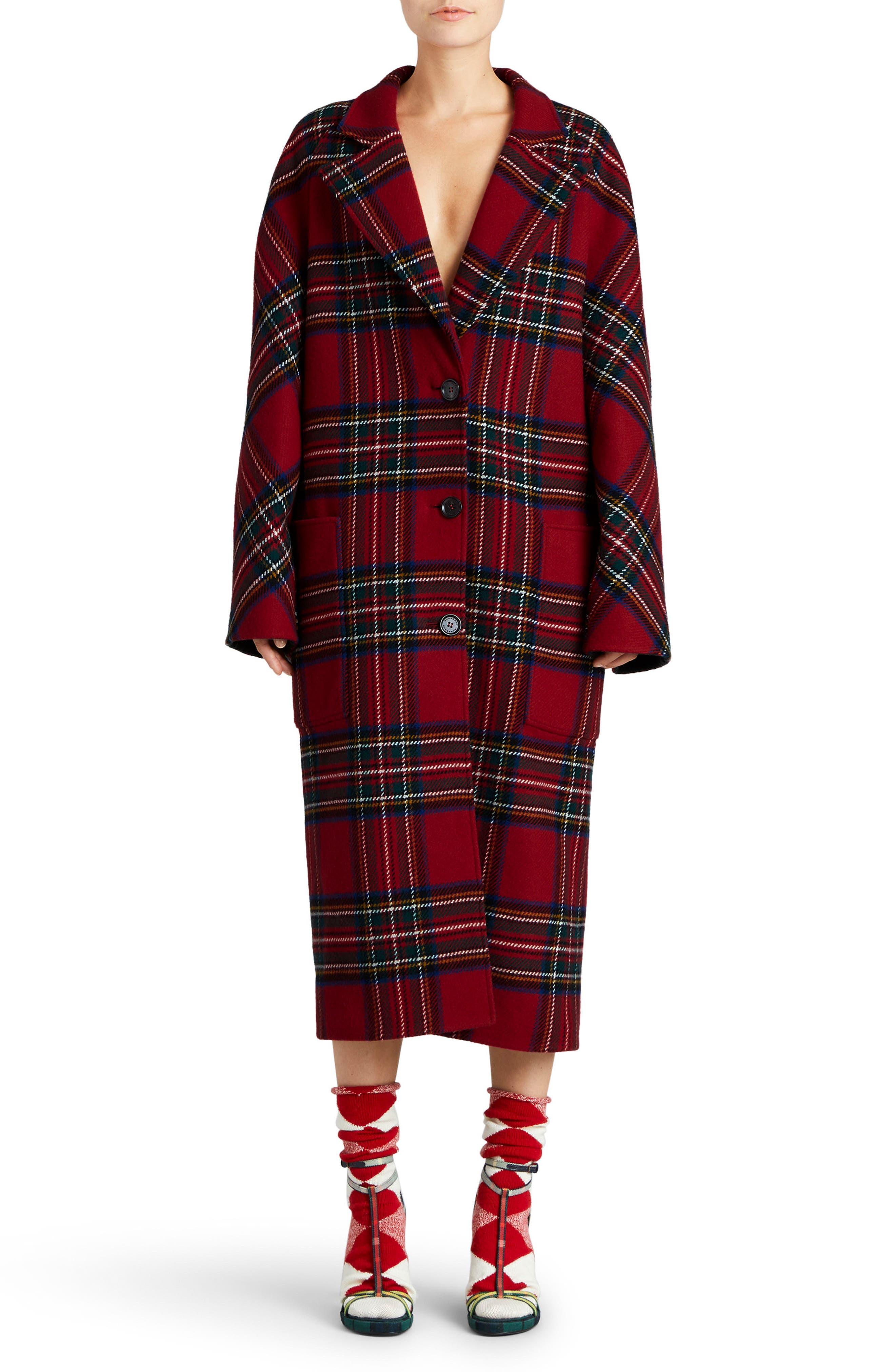 Main Image - Burberry Scottish Tartan Wool & Cashmere Reversible Coat