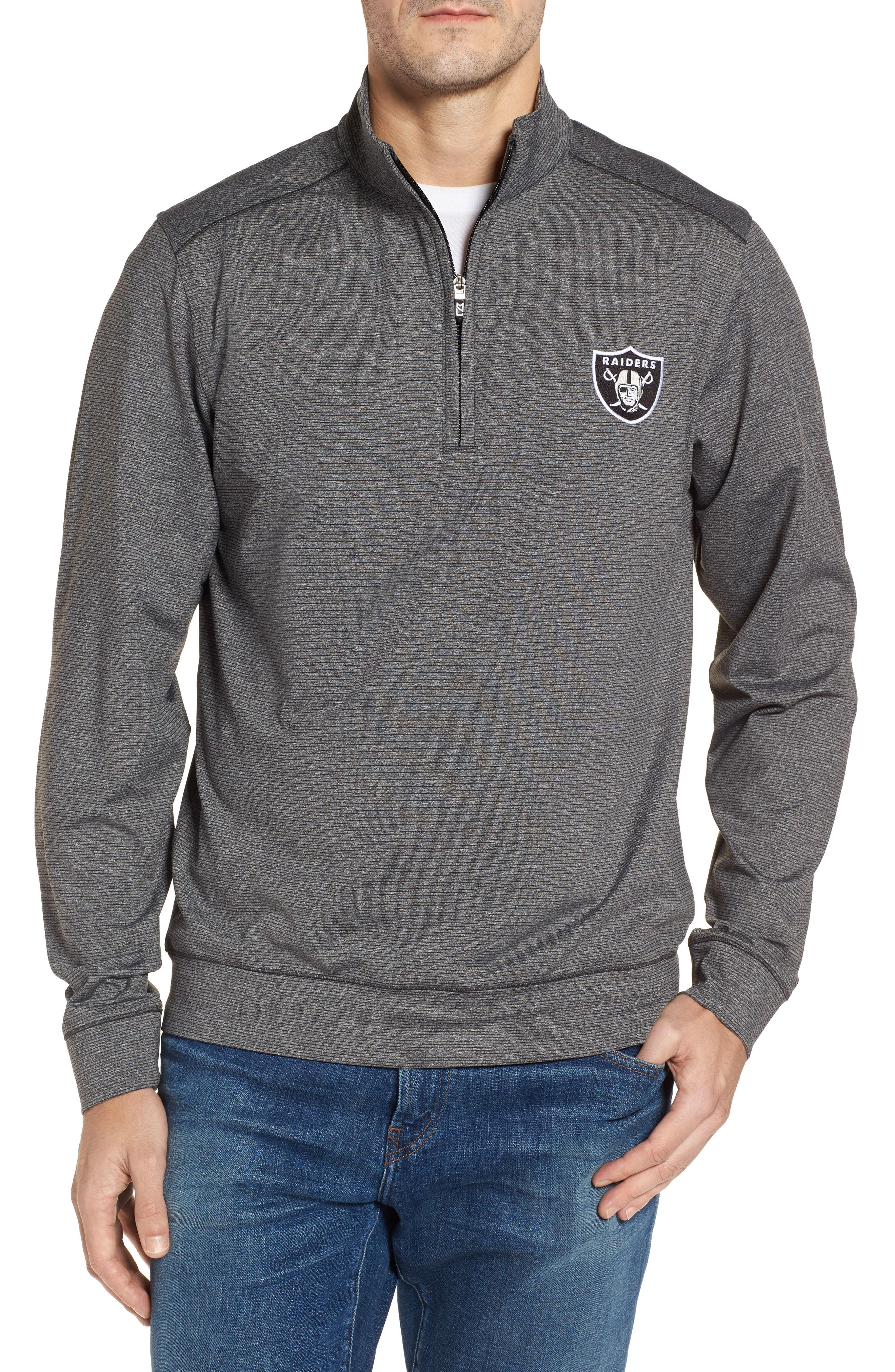 Shoreline - Oakland Raiders Half Zip Pullover,                         Main,                         color, Charcoal Heather