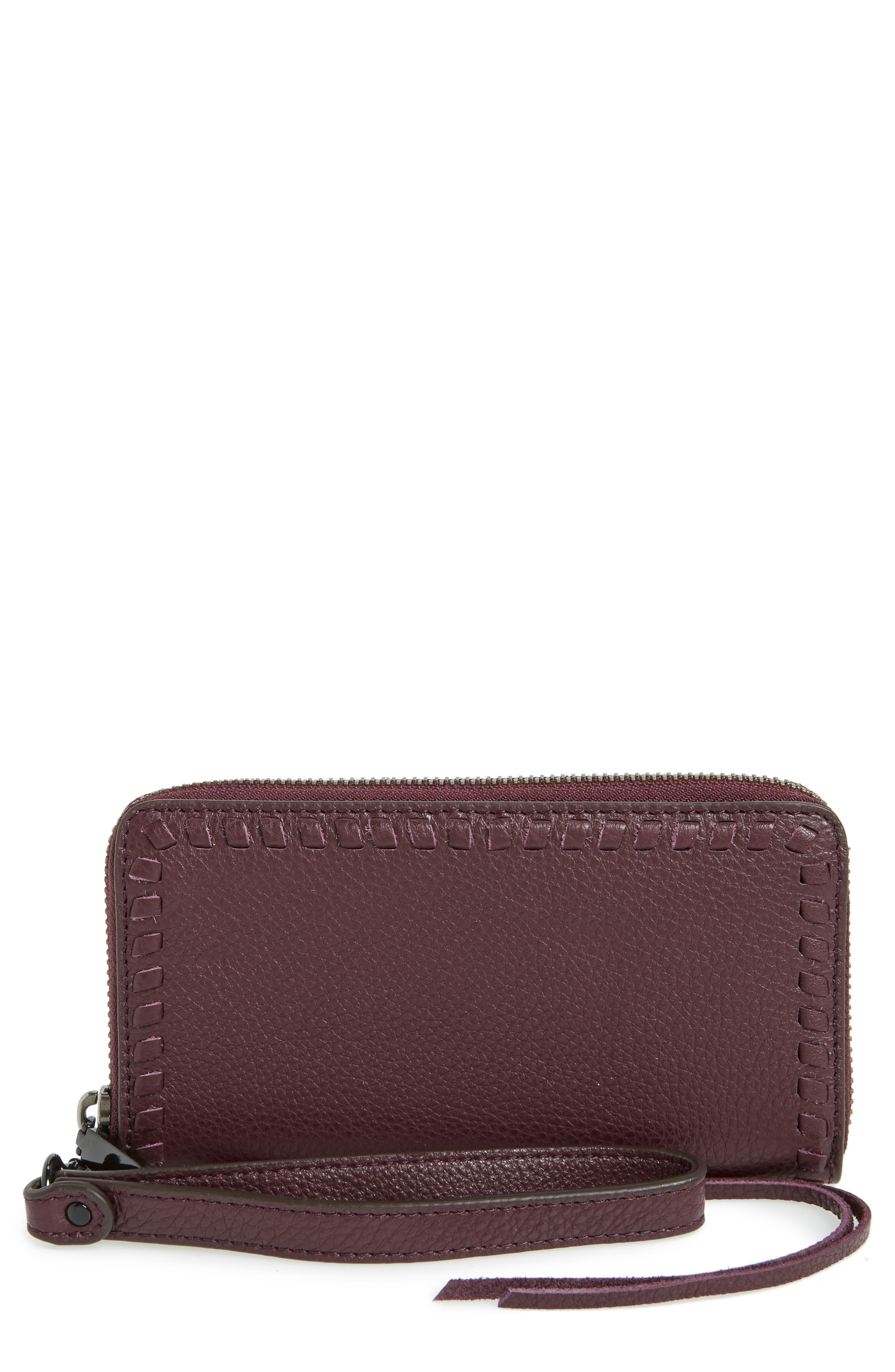 Vanity Leather Smartphone Wristlet,                             Main thumbnail 1, color,                             Dark Cherry