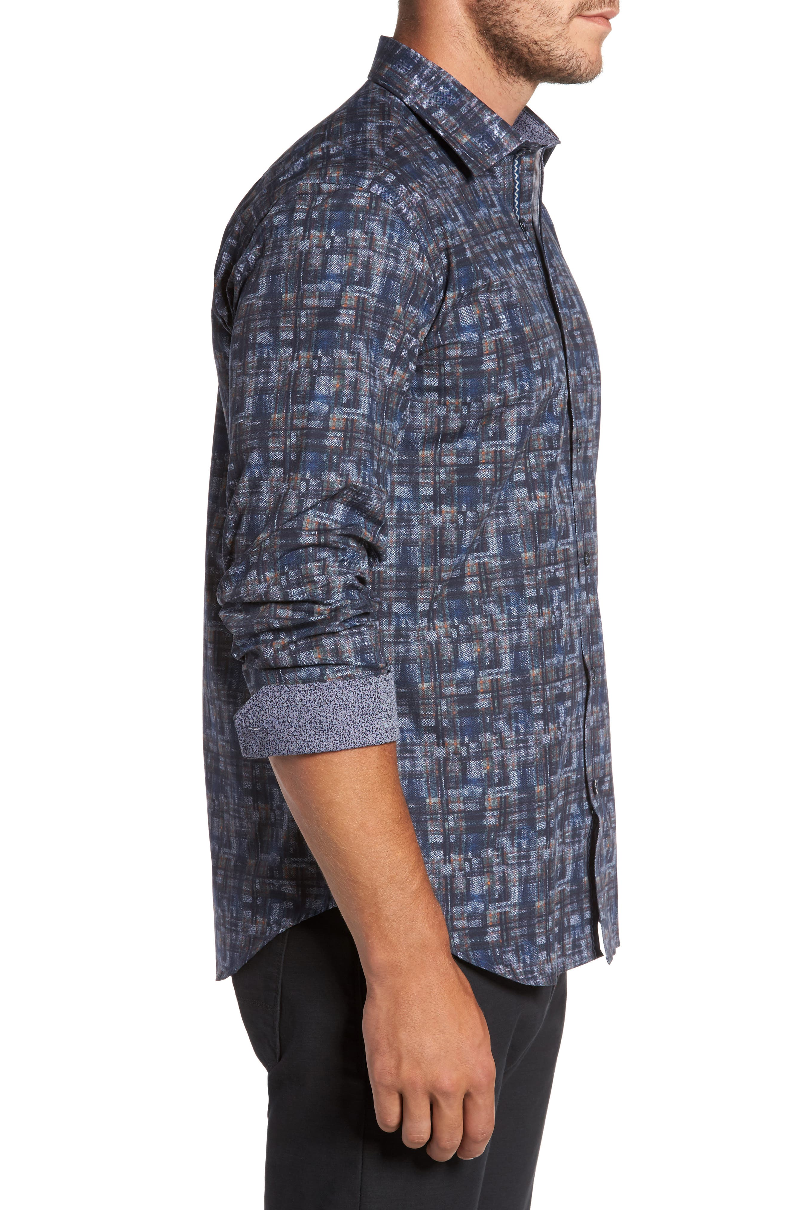 Trim Fit Brushstroke Print Sport Shirt,                             Alternate thumbnail 3, color,                             Navy