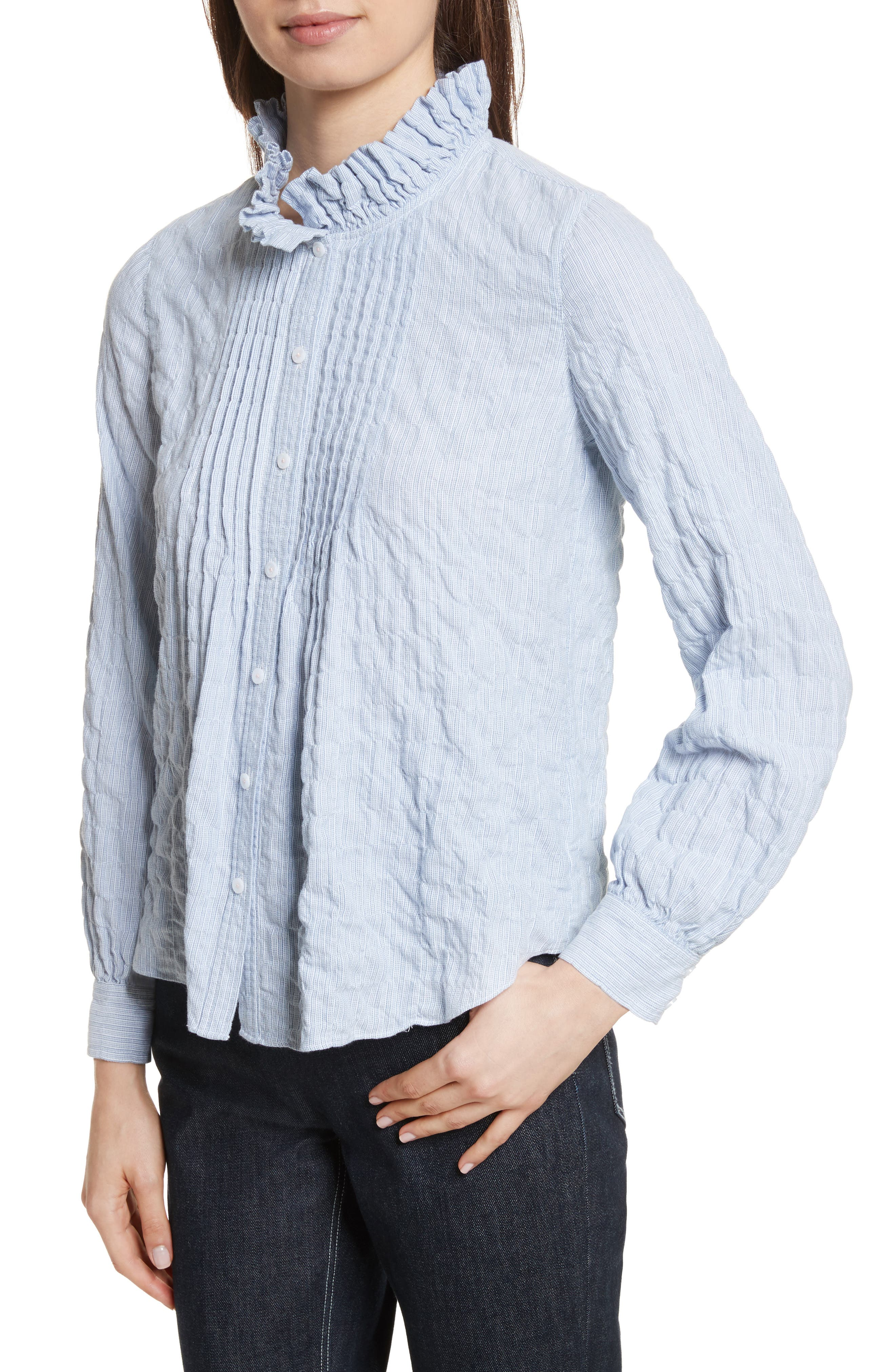 Alternate Image 4  - Rebecca Taylor Soft Stripe Quilted Shirt