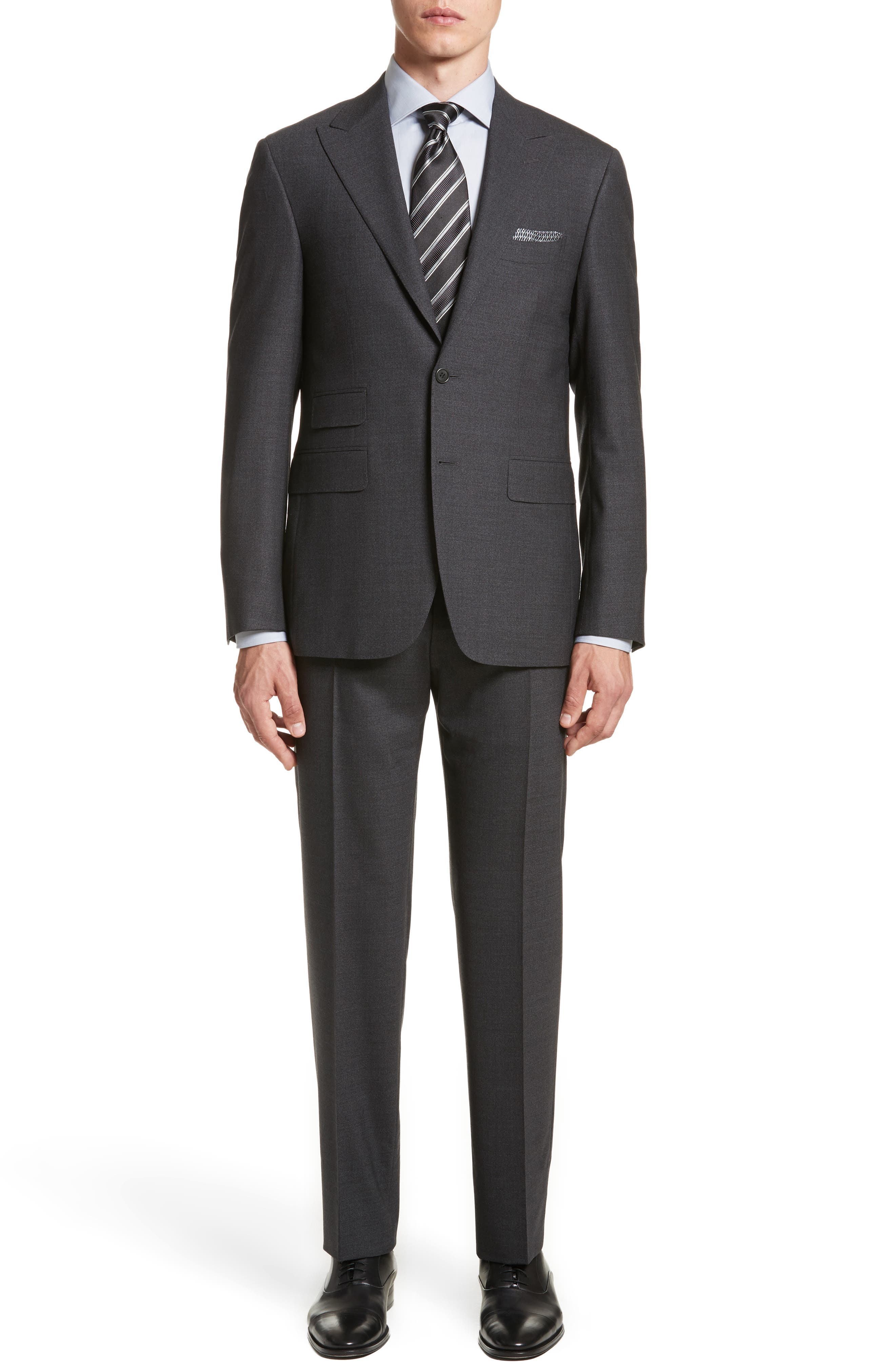 Canali Classic Fit Solid Stretch Wool Suit