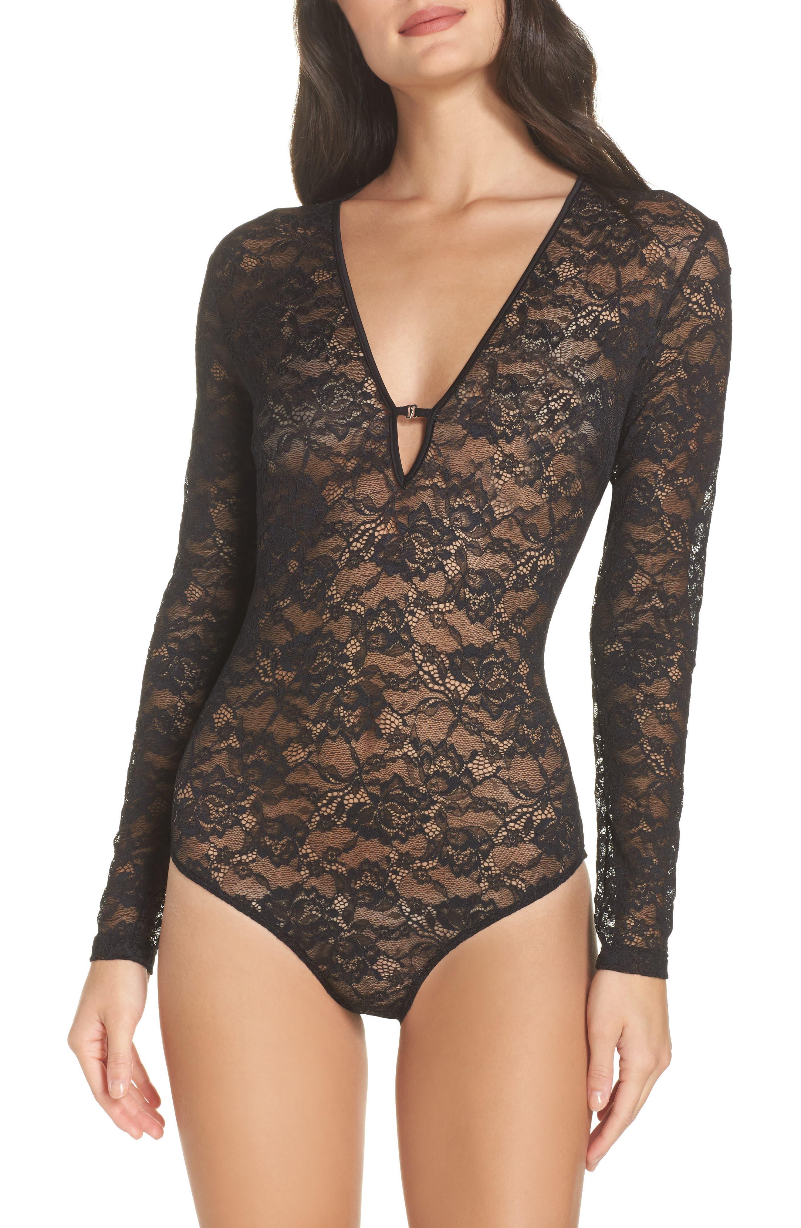 Lace Bodysuit,                         Main,                         color, Black
