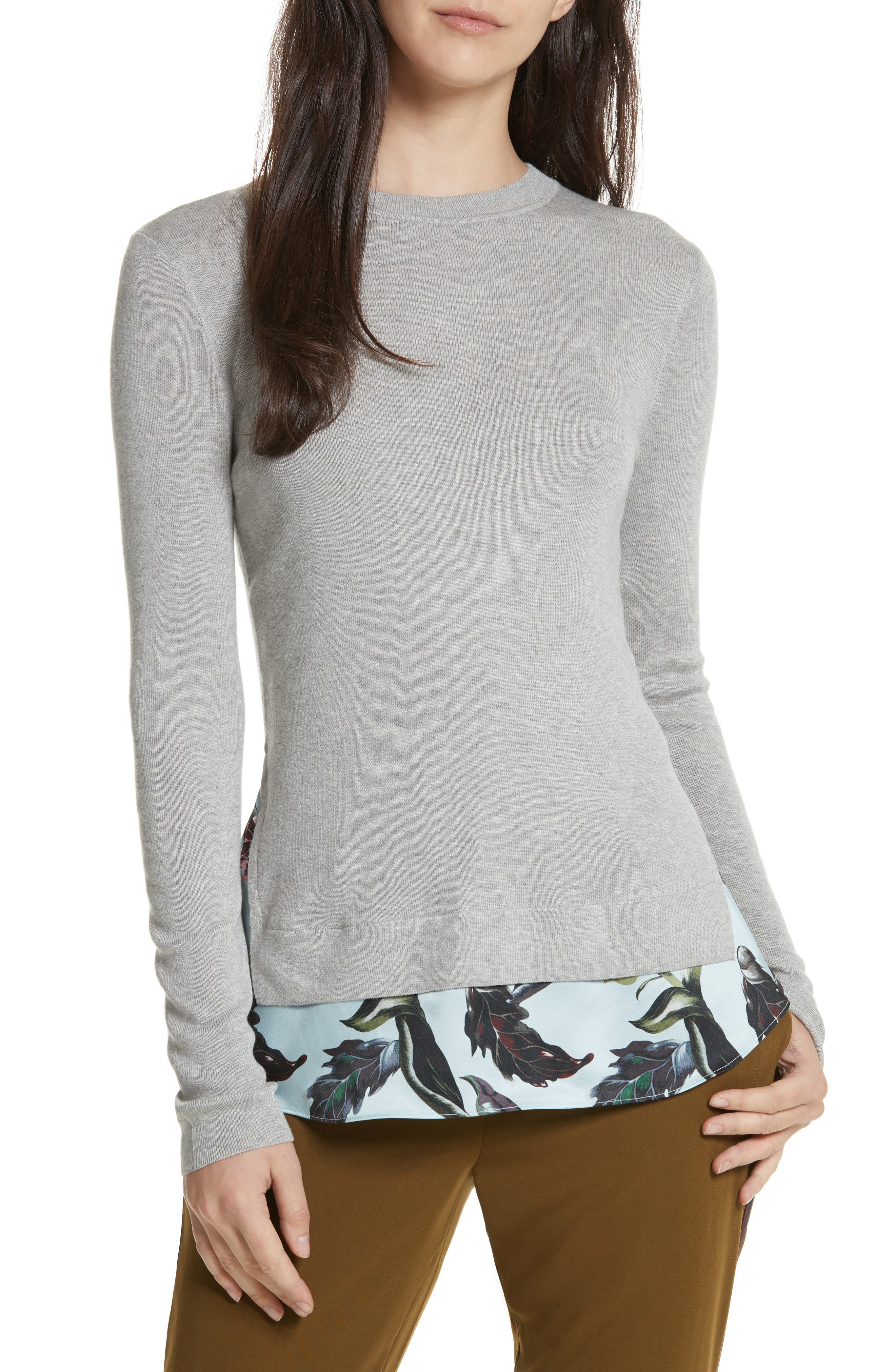 Karley Minerals Mockable Sweater,                             Main thumbnail 1, color,                             Light Grey