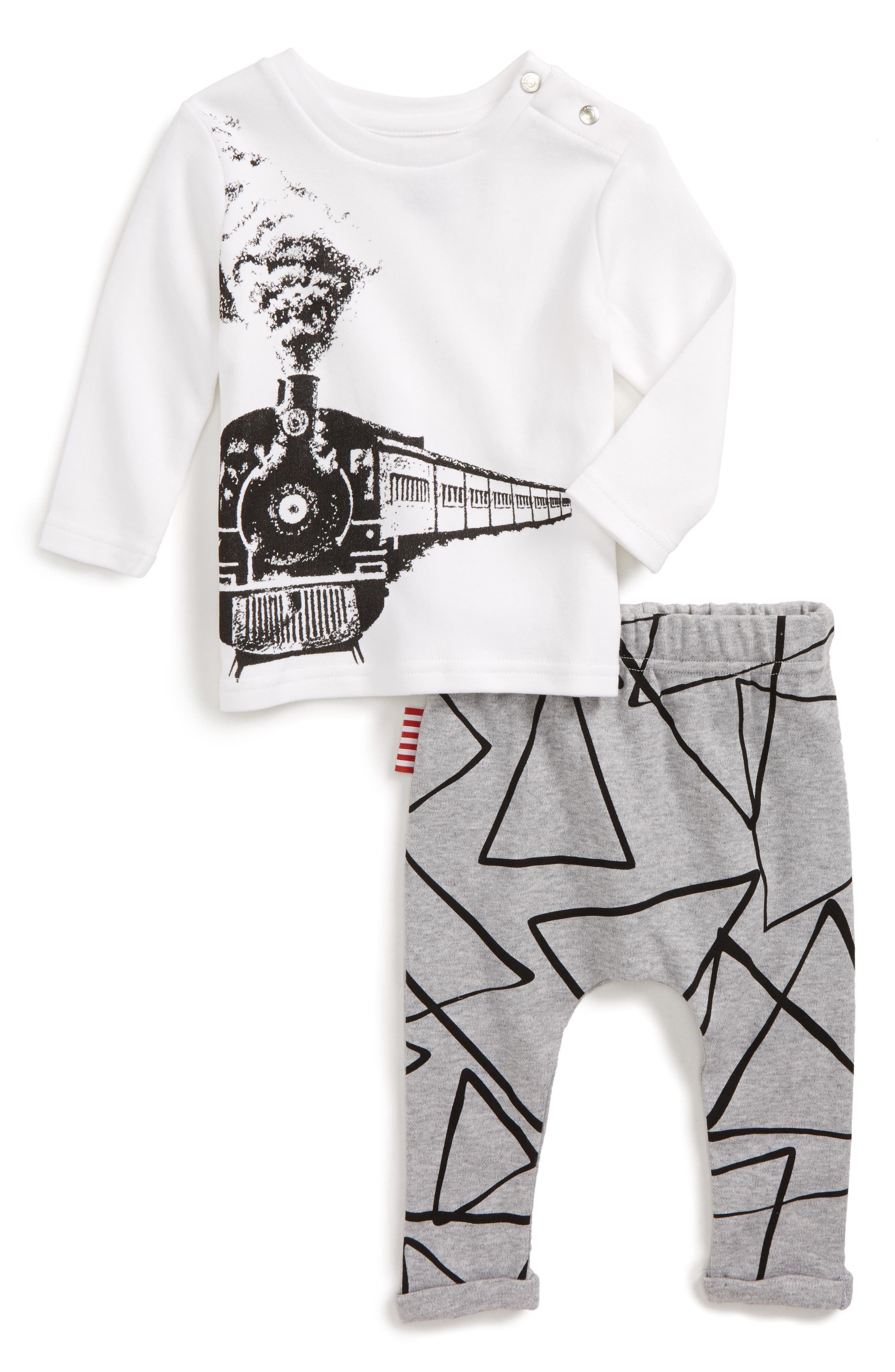 Train T-Shirt & Leggings Set,                             Main thumbnail 1, color,                             White And Grey
