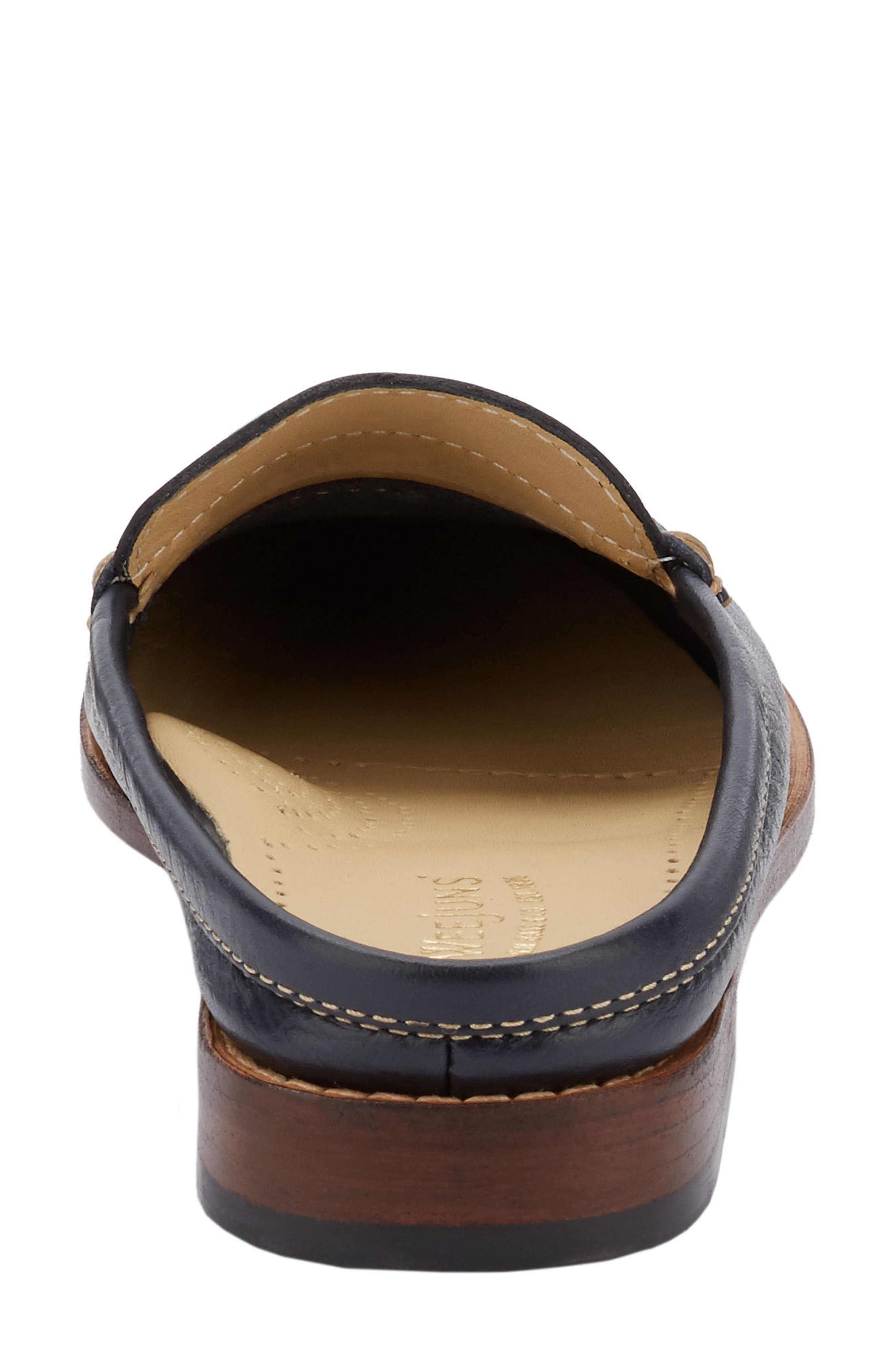 Wynn Loafer Mule,                             Alternate thumbnail 4, color,                             Navy Leather