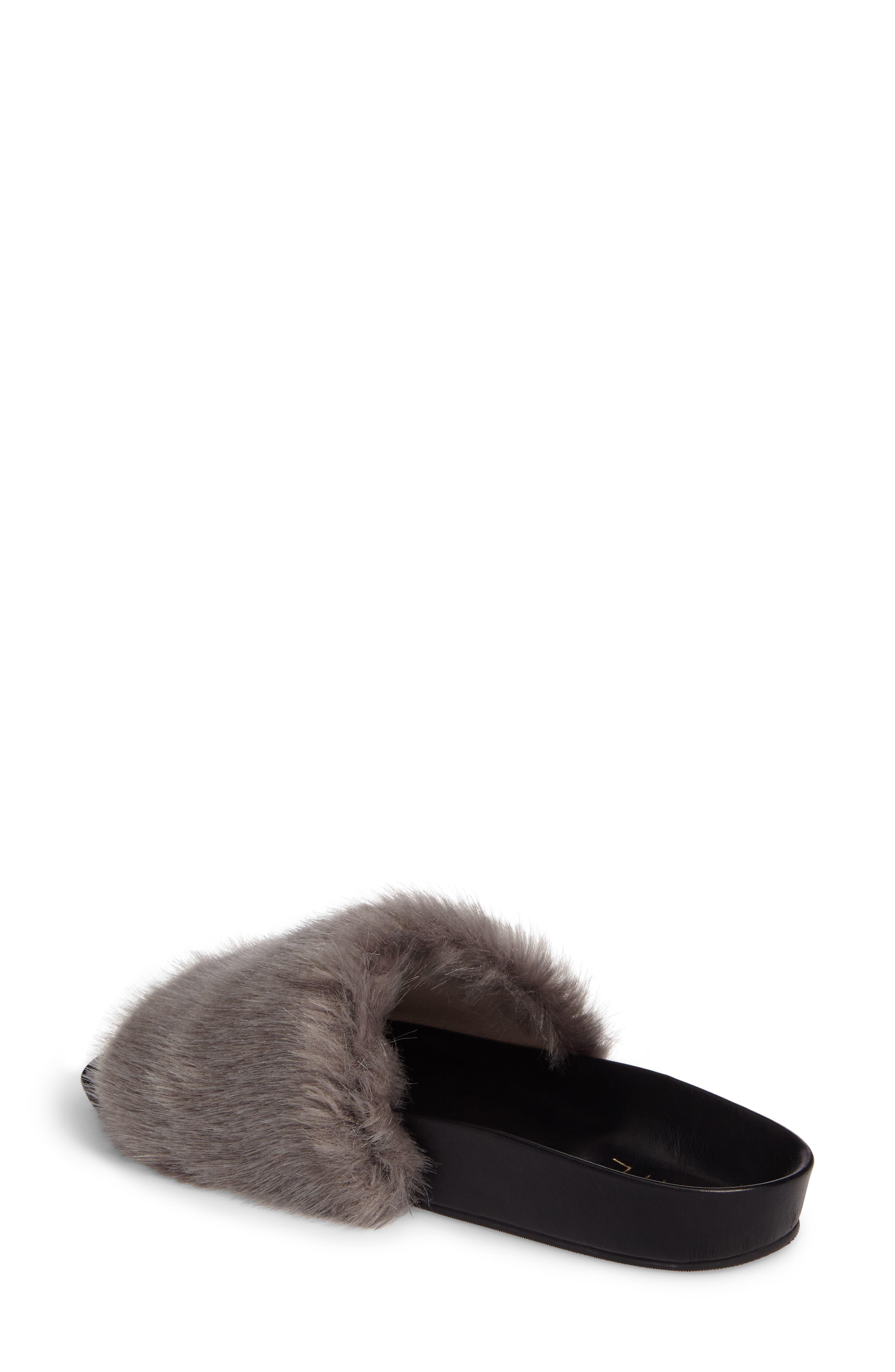 Sirius Faux Fur Slide,                             Alternate thumbnail 2, color,                             Silver Fur