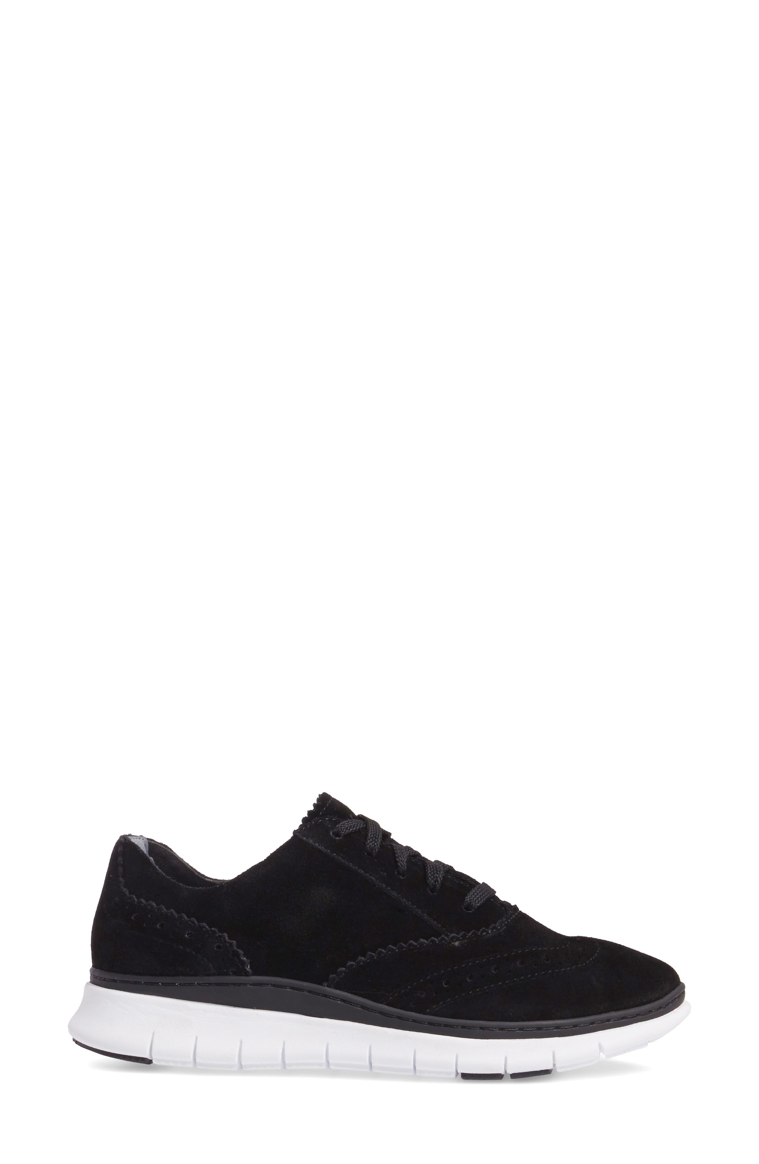Kenley Sneaker,                             Alternate thumbnail 3, color,                             Black Suede