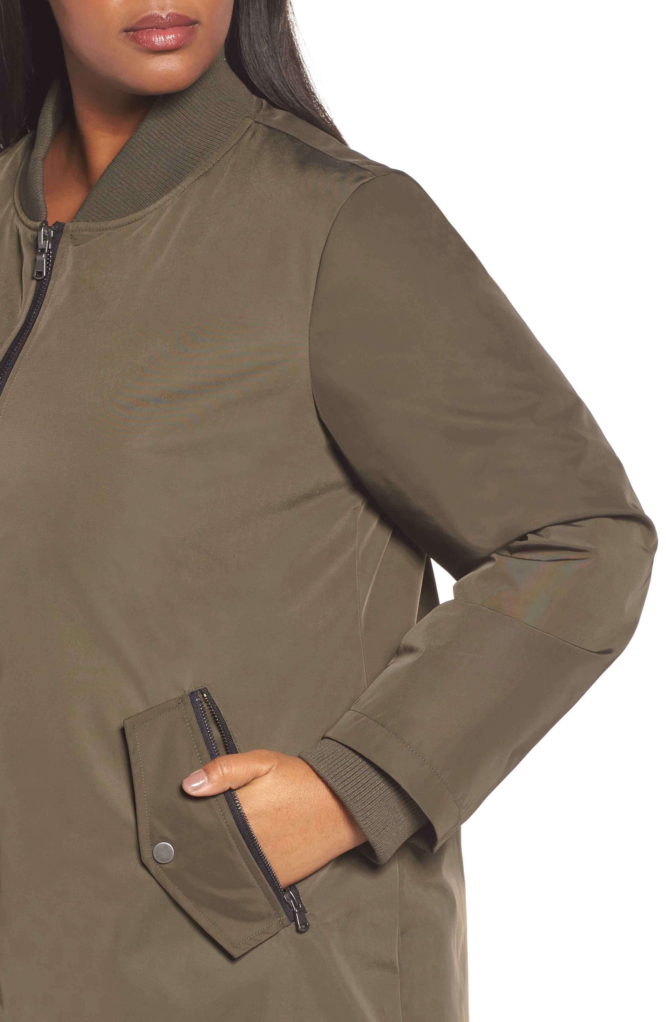 Alternate Image 4  - Calson® Long Bomber Jacket (Plus Size)