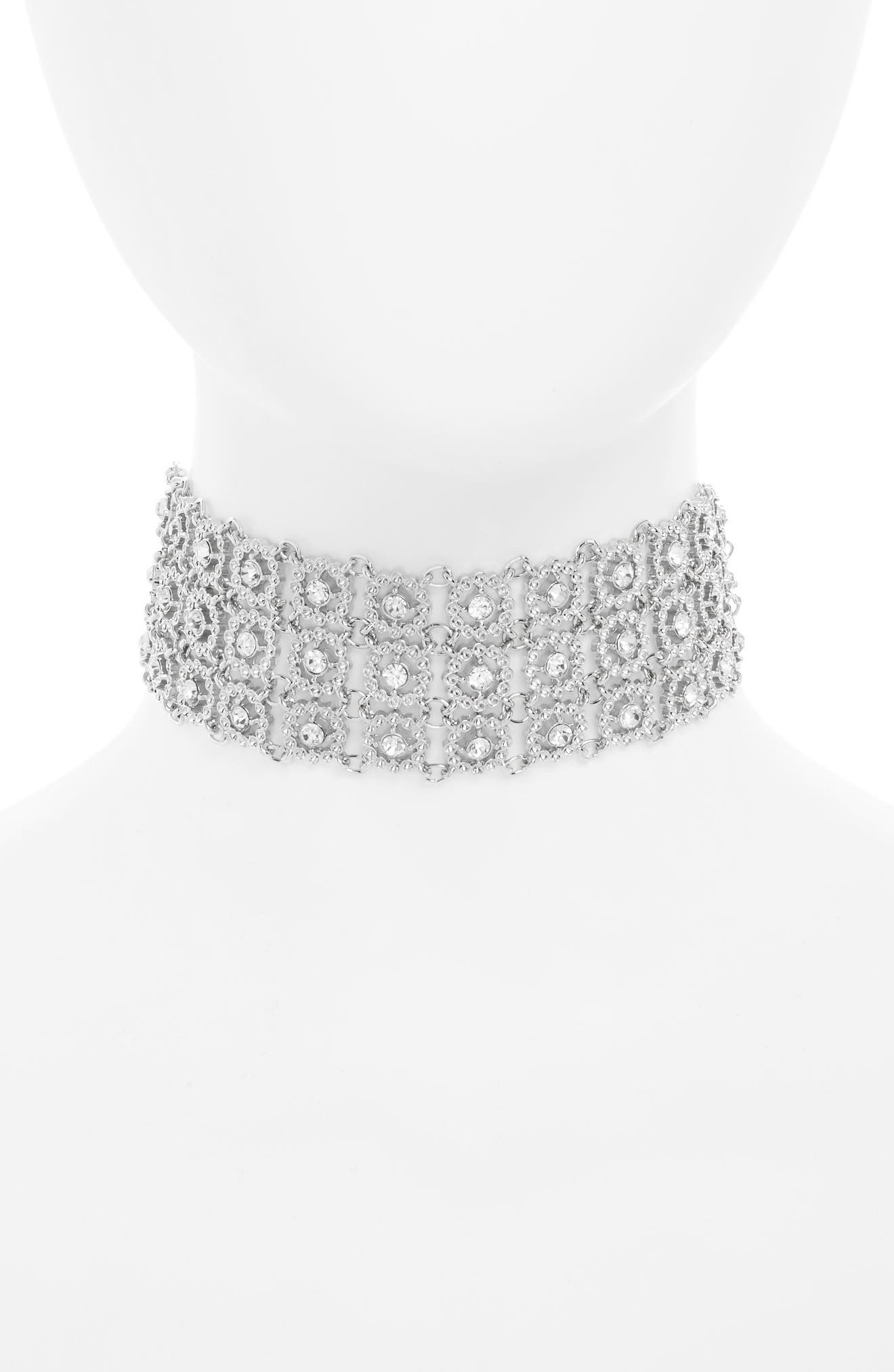 Crystal Flower Choker Necklace,                             Main thumbnail 1, color,                             Silver