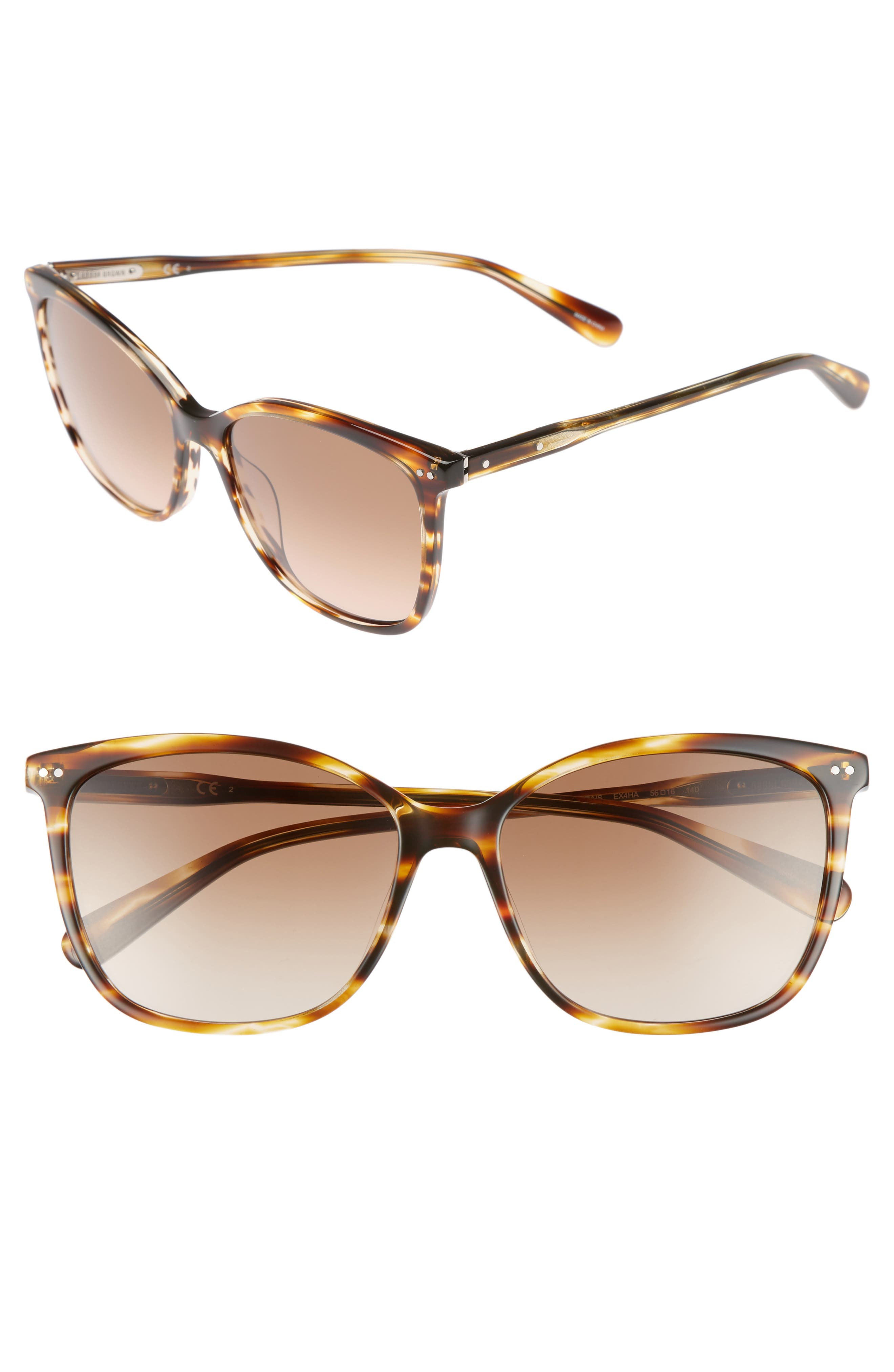 The Lara 56mm Cat Eye Sunglasses,                             Main thumbnail 1, color,                             Brown