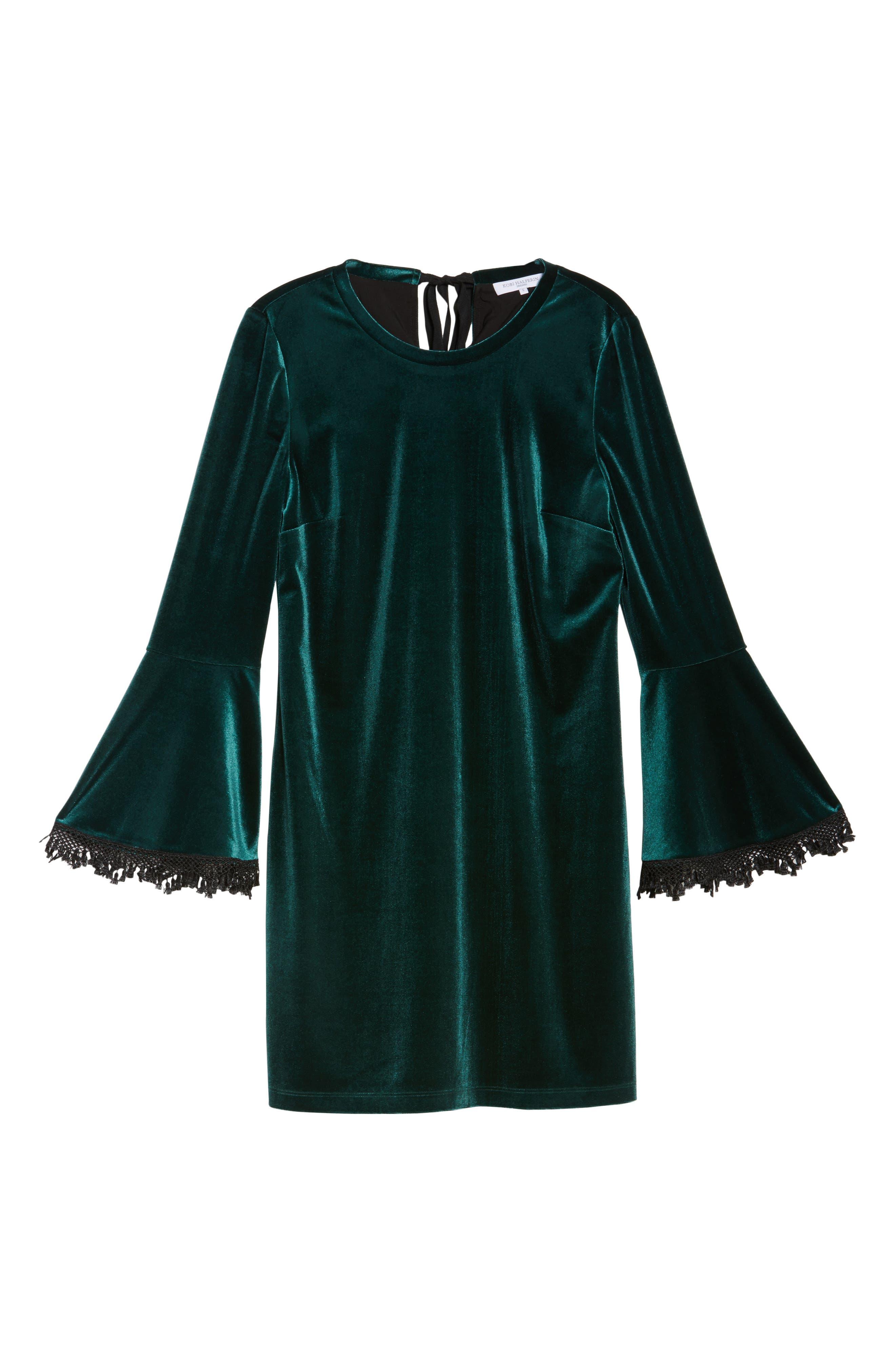 Hallie Bell Sleeve Velvet Dress,                             Alternate thumbnail 6, color,                             Bottle Green