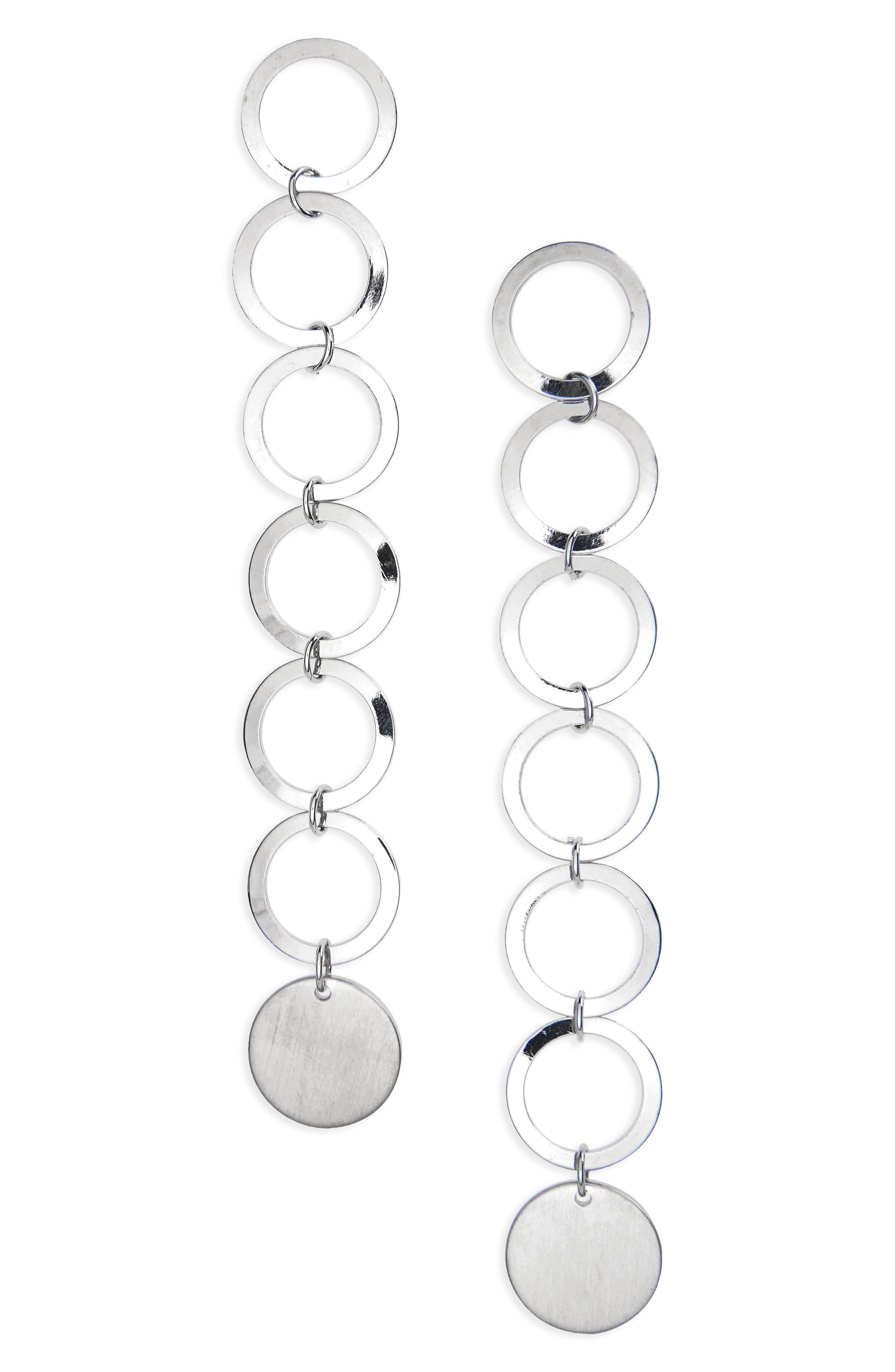 Long Circle Drop Earrings,                         Main,                         color, Silver