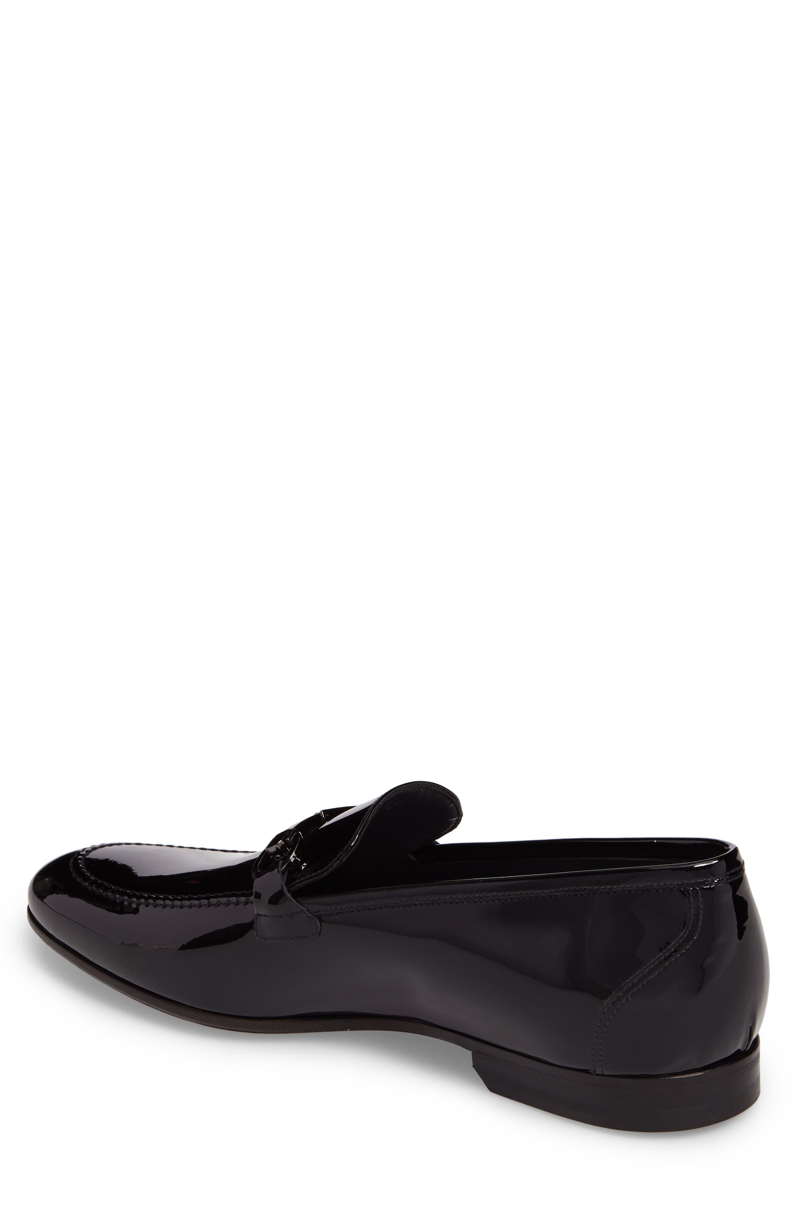 Brianza Bit Loafer,                             Alternate thumbnail 4, color,                             Black Patent Leather