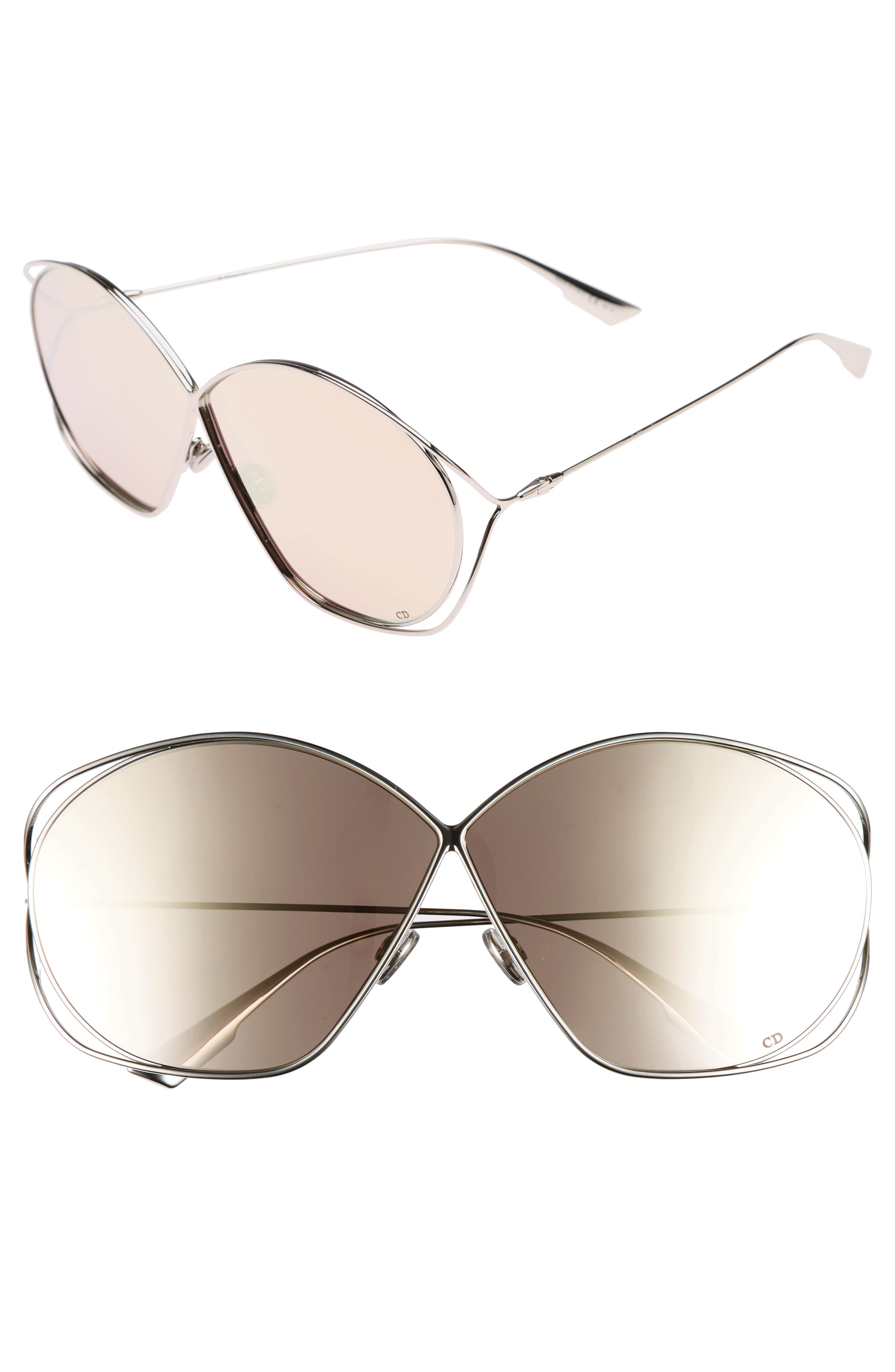 Stellaire 2 68mm Oversize Butterfly Sunglasses,                             Main thumbnail 1, color,                             Palladium