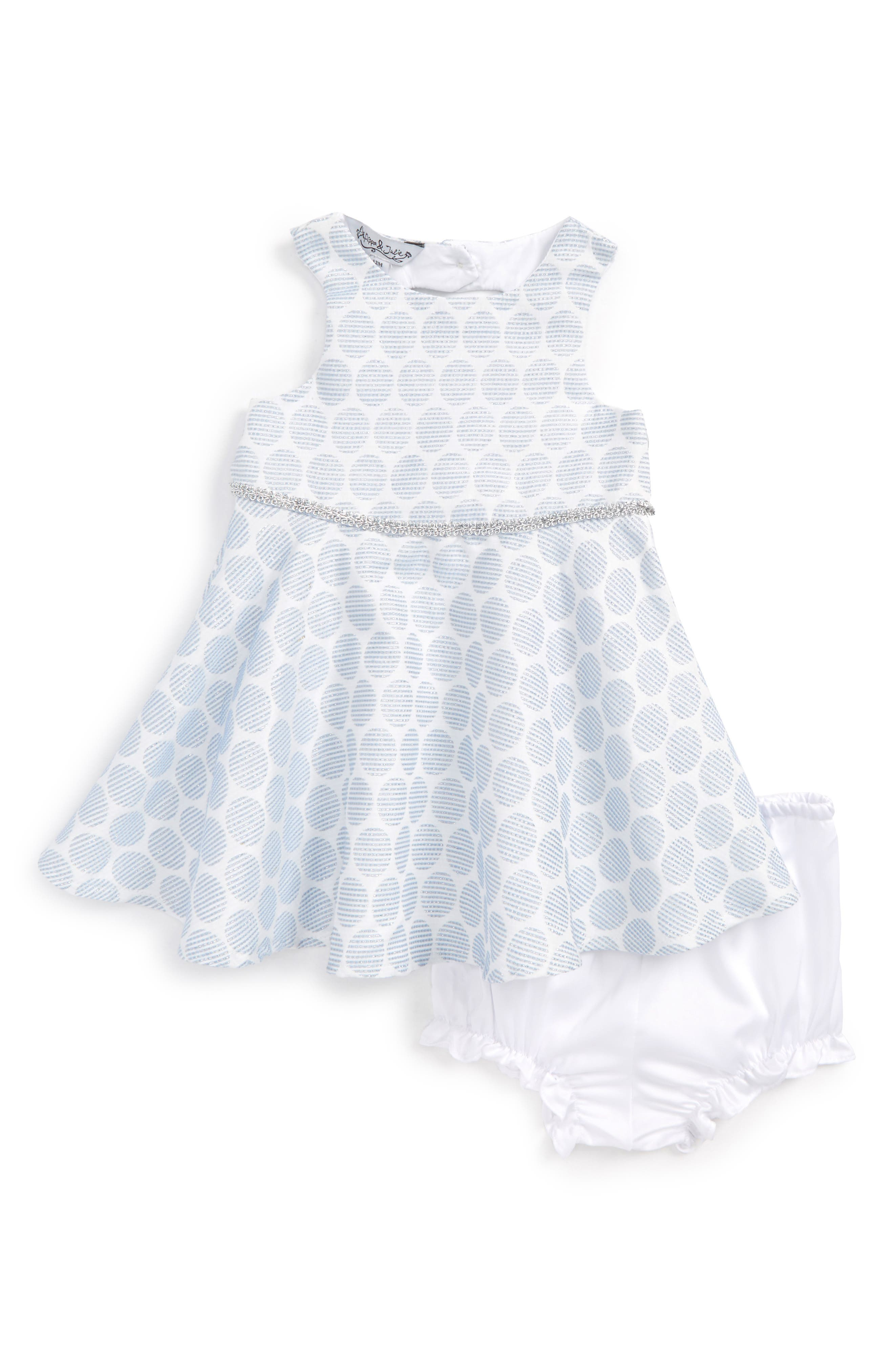 Polka Dot Dress,                             Main thumbnail 1, color,                             Light Blue/ White